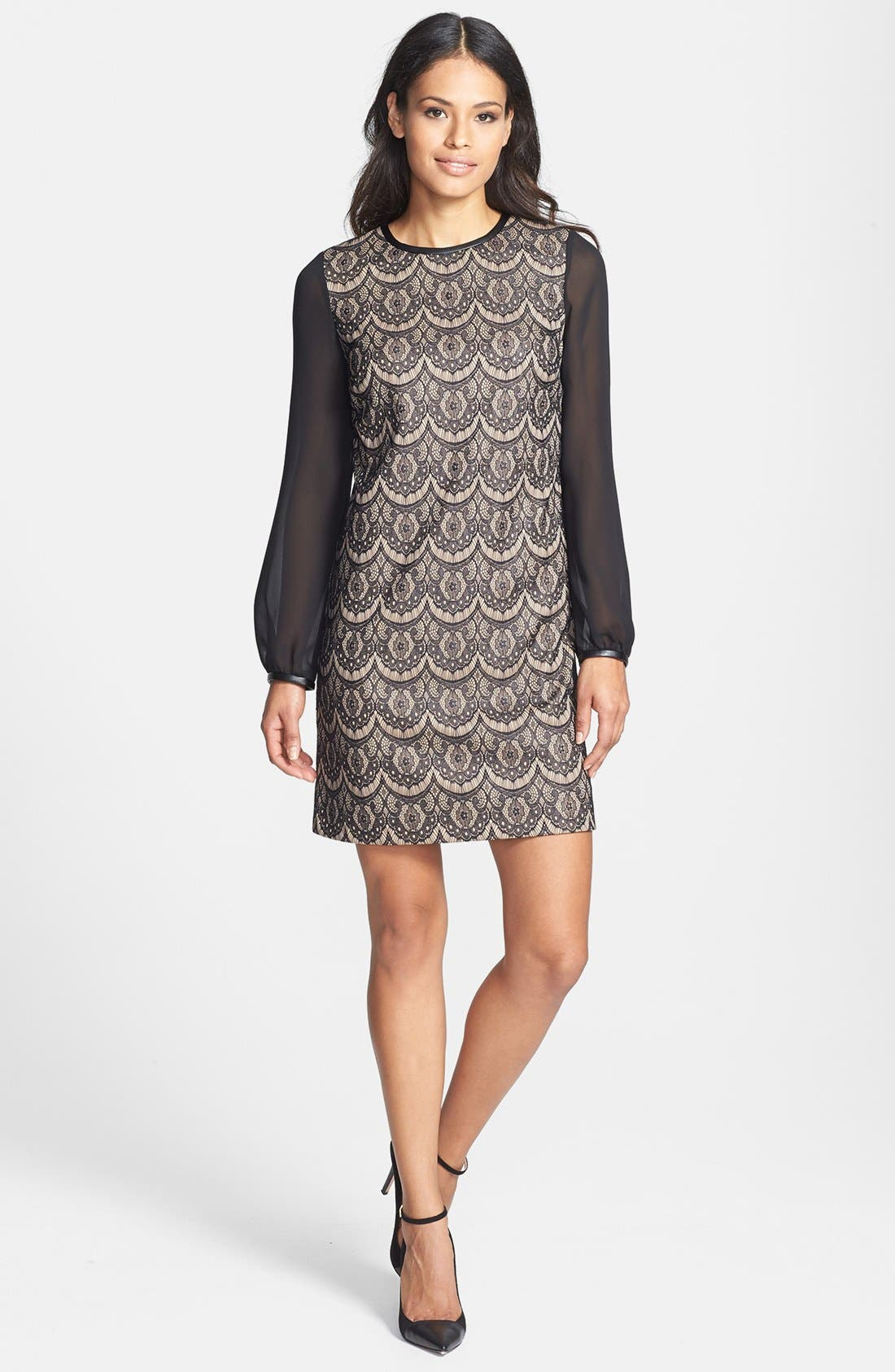 Alternate Image 3  - Donna Ricco Blouson Sleeve Lace Shift Dress (Regular & Petite)