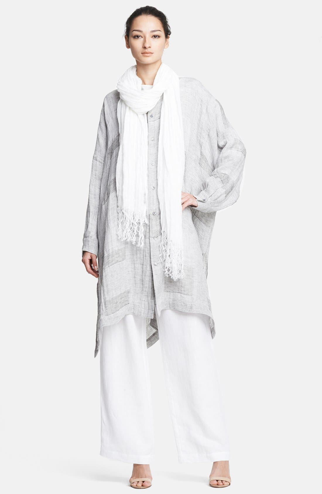 Alternate Image 1 Selected - eskandar Patchwork Linen Gauze Shirt