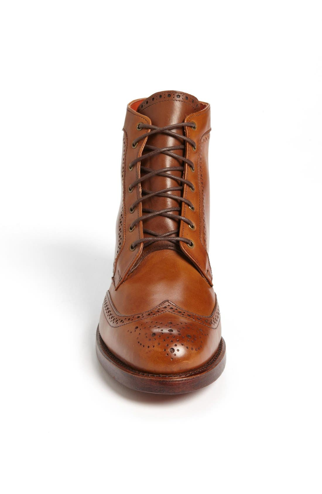 'Dalton' Water Resistant Wingtip Boot,                             Alternate thumbnail 3, color,                             Burnished Walnut Leather
