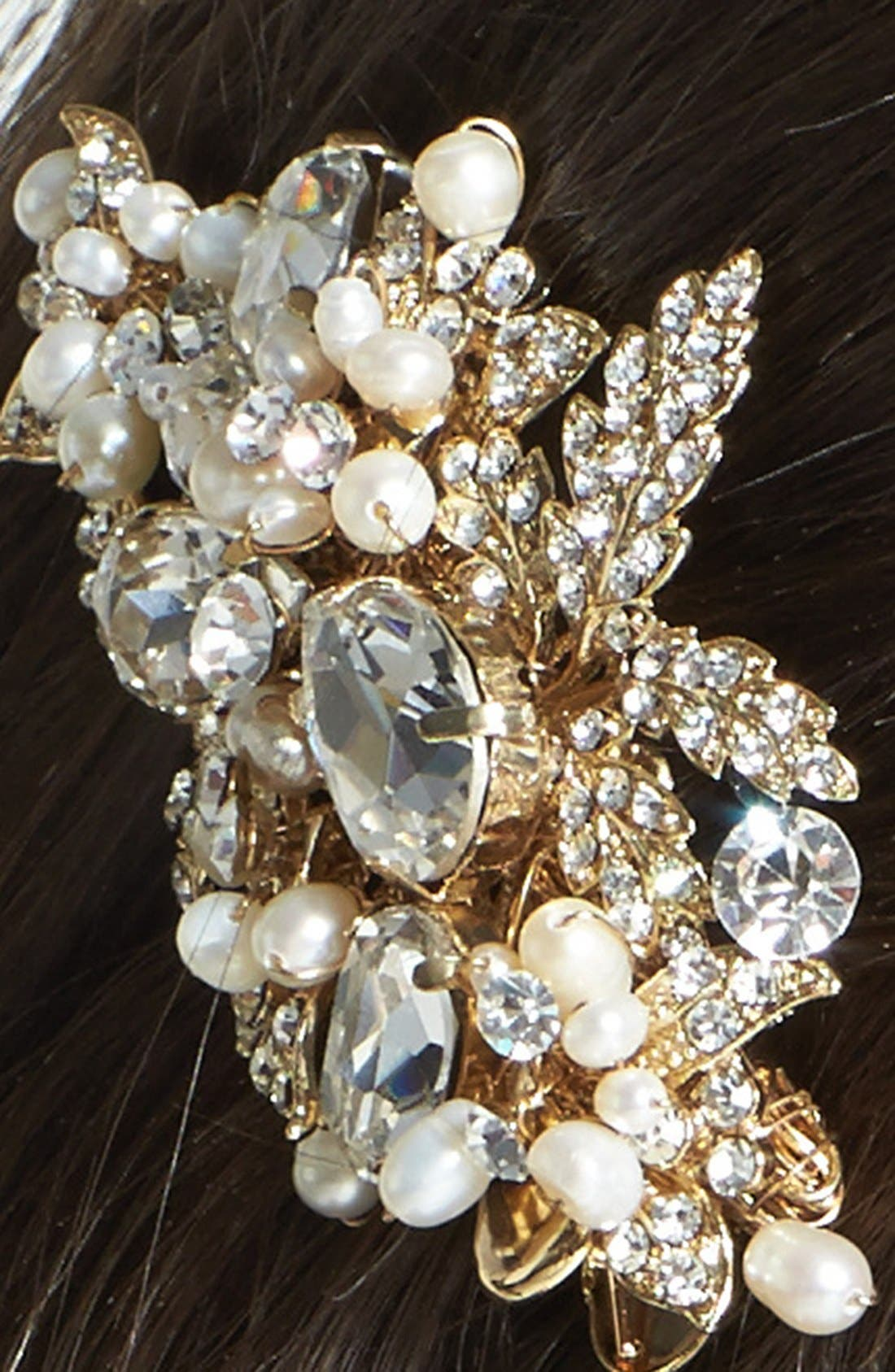 Alternate Image 2  - Wedding Belles New York 'Luella' Czech Crystal & Freshwater Pearl Clip (Nordstrom Exclusive)