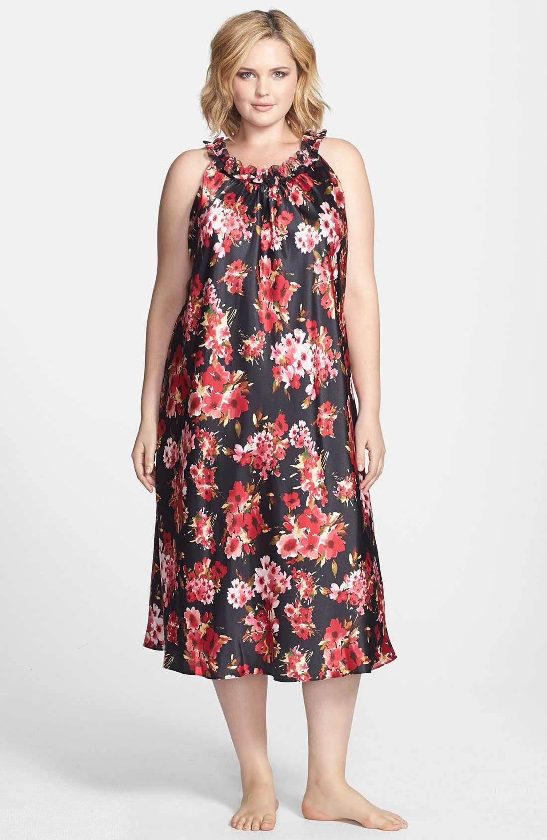 Alternate Image 1 Selected - Oscar de la Renta Sleepwear 'Holiday Bouquet' Long Nightgown (Plus Size)