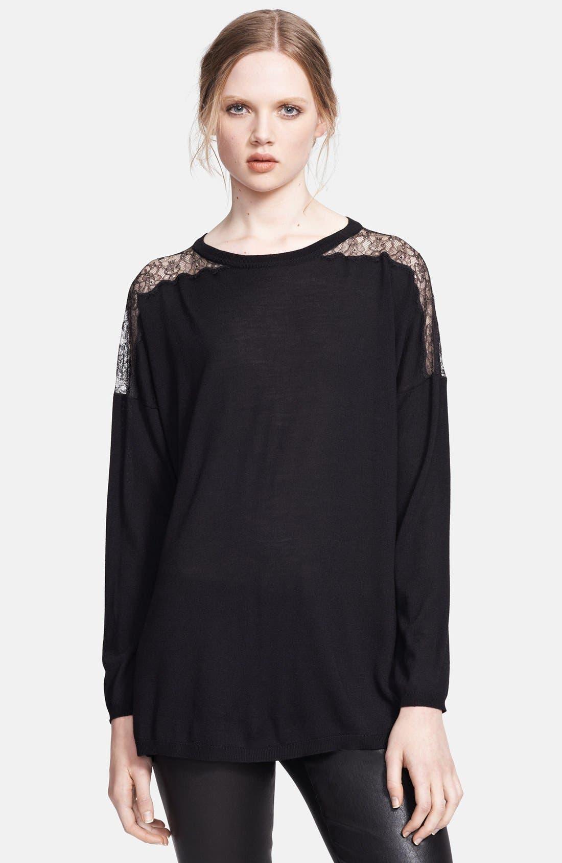 Main Image - Valentino Lace Illusion Shoulder Sweater