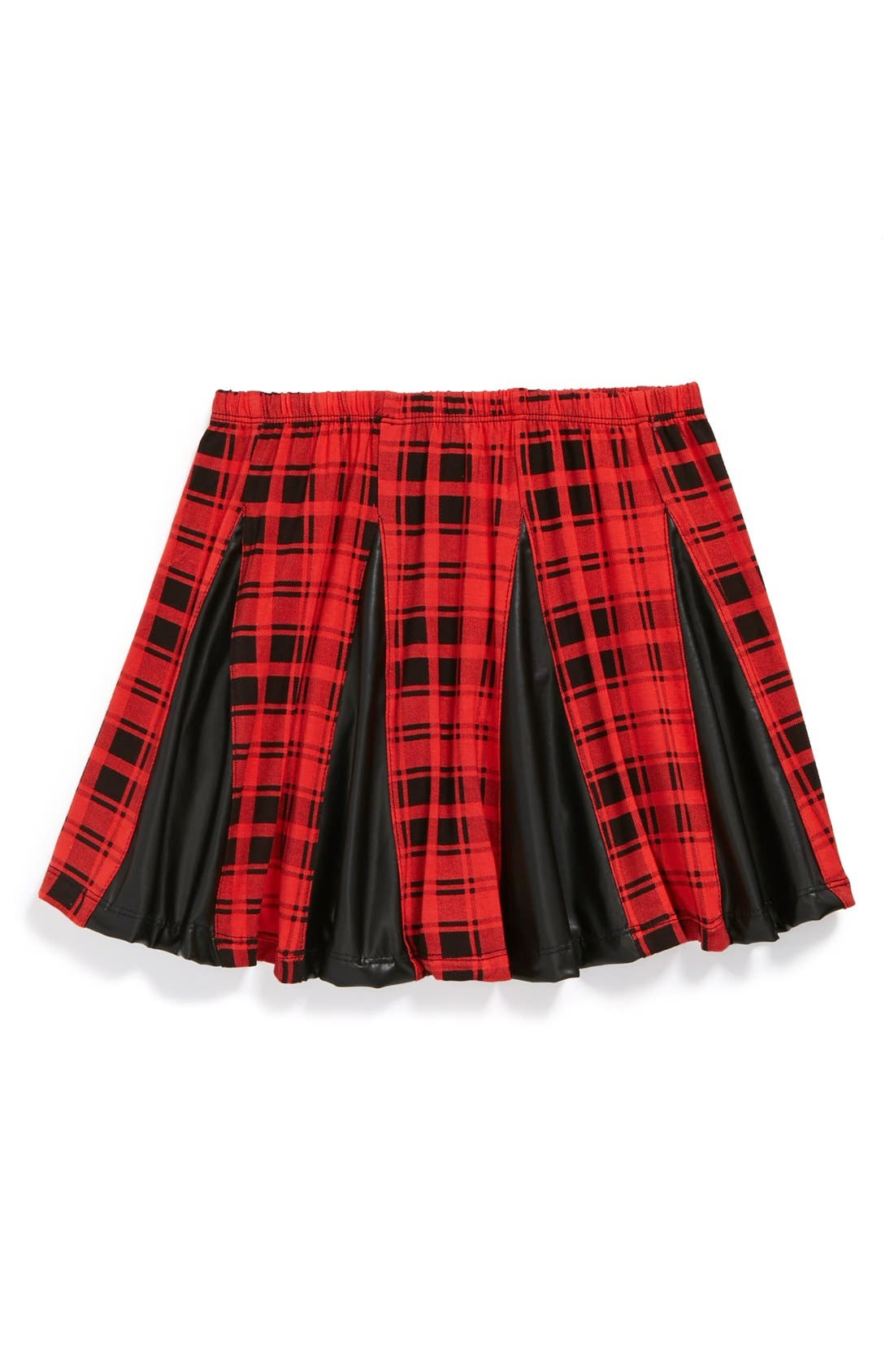 Alternate Image 1 Selected - Flowers by Zoe Pleated Plaid Skirt (Big Girls)