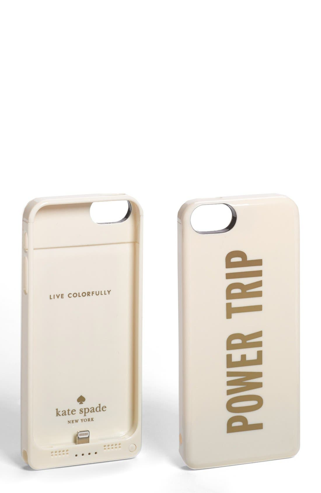 'power trip' iPhone 5 case & portable charger,                         Main,                         color, Cream/ Gold