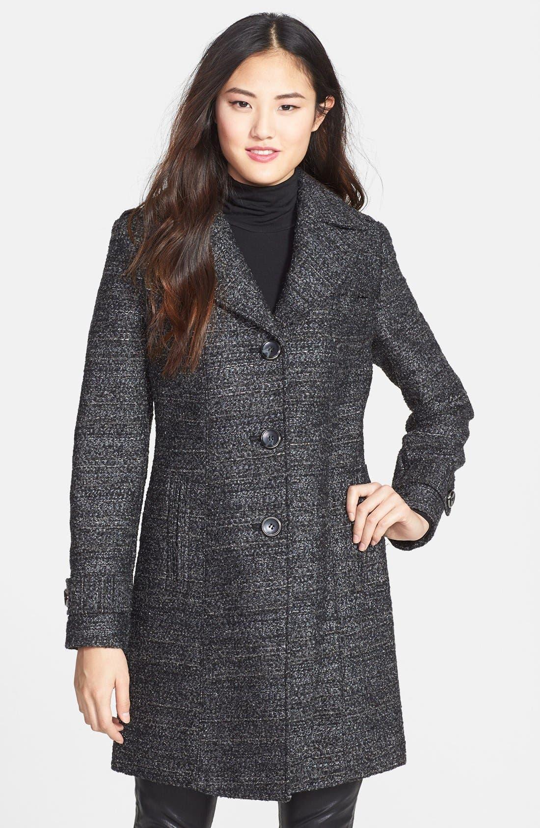 Metallic Tweed Walking Coat,                             Main thumbnail 1, color,                             Black