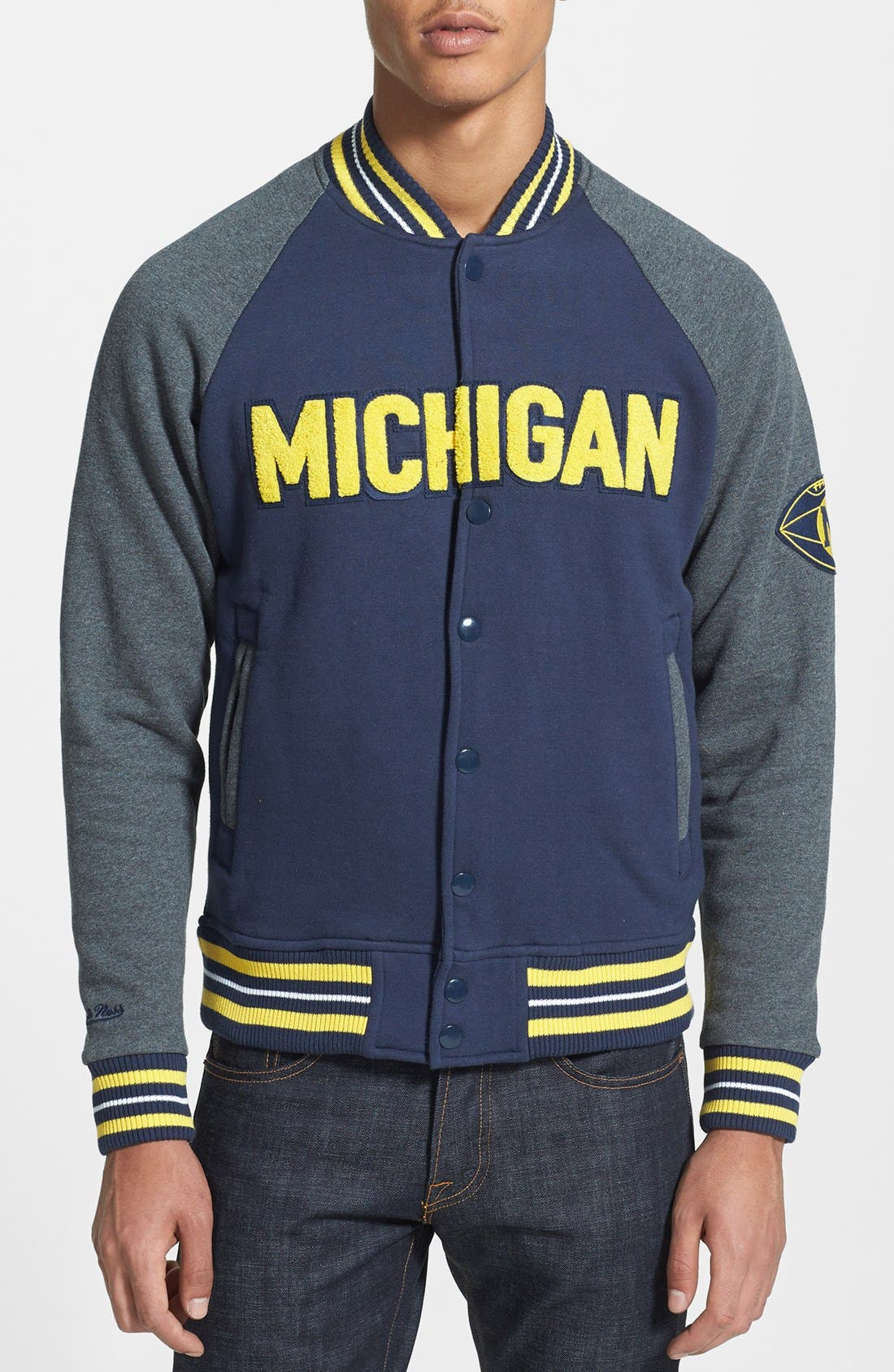 Main Image - Mitchell & Ness 'Backward Pass - Michigan' Fleece Jacket