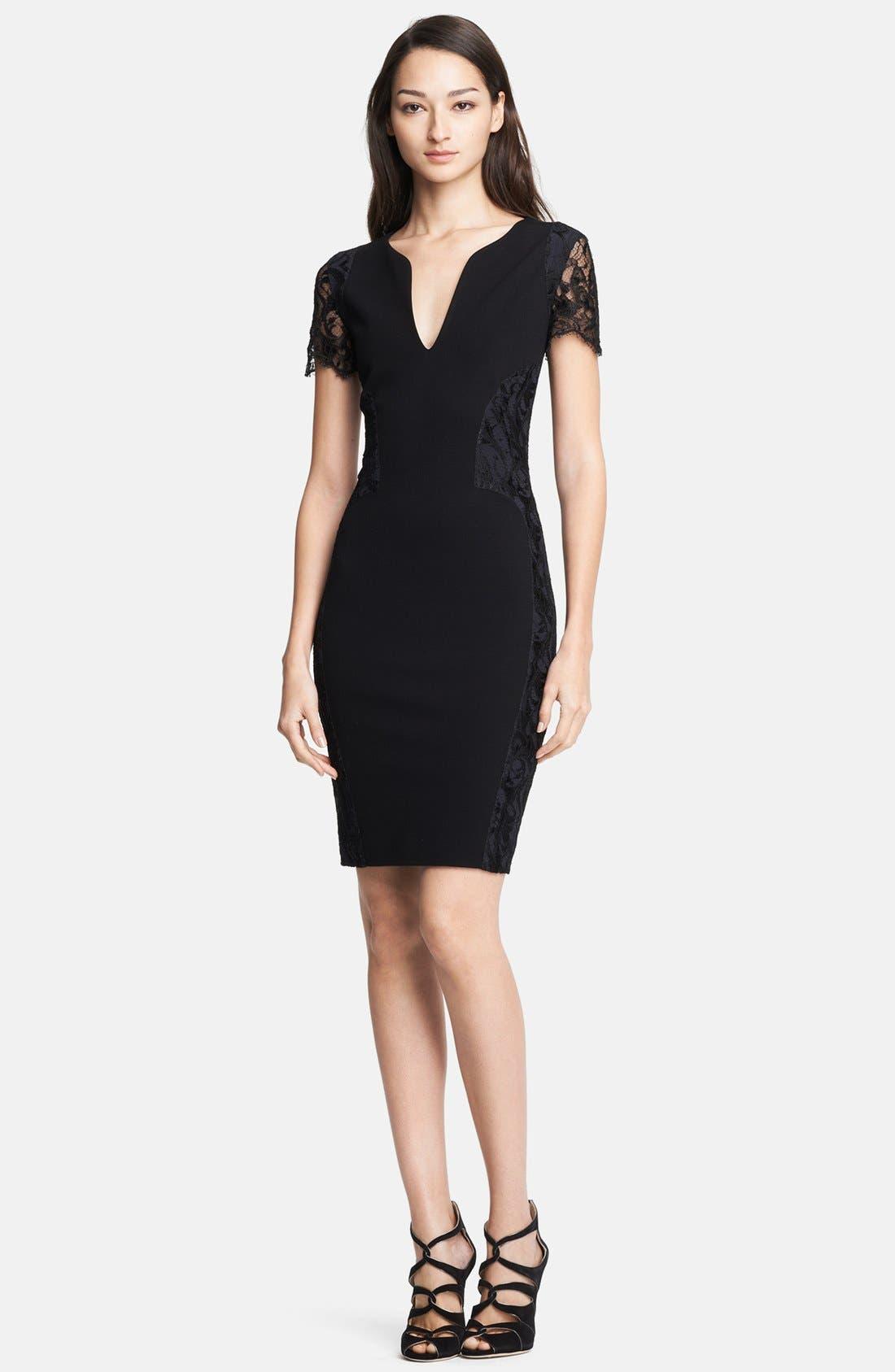 Main Image - Emilio Pucci Lace Shoulder Punto Milano Dress