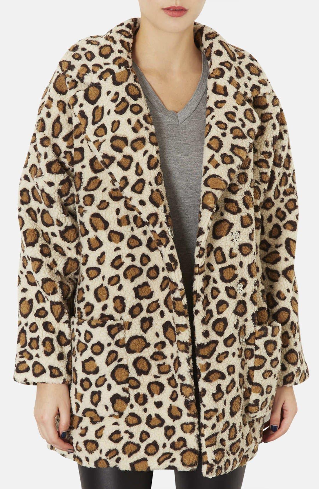 Main Image - Topshop Leopard Borg Coat
