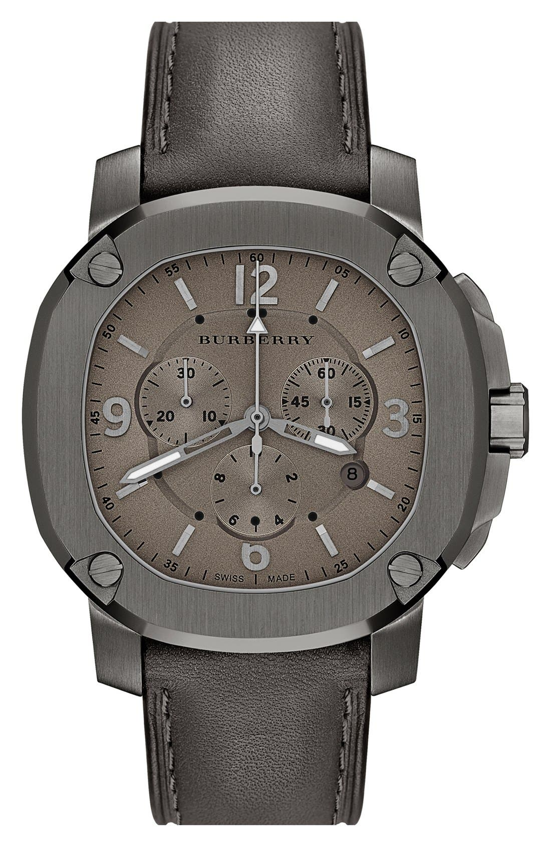 Alternate Image 1 Selected - Burberry the Britain Chronograph Leather Strap Watch, 47mm