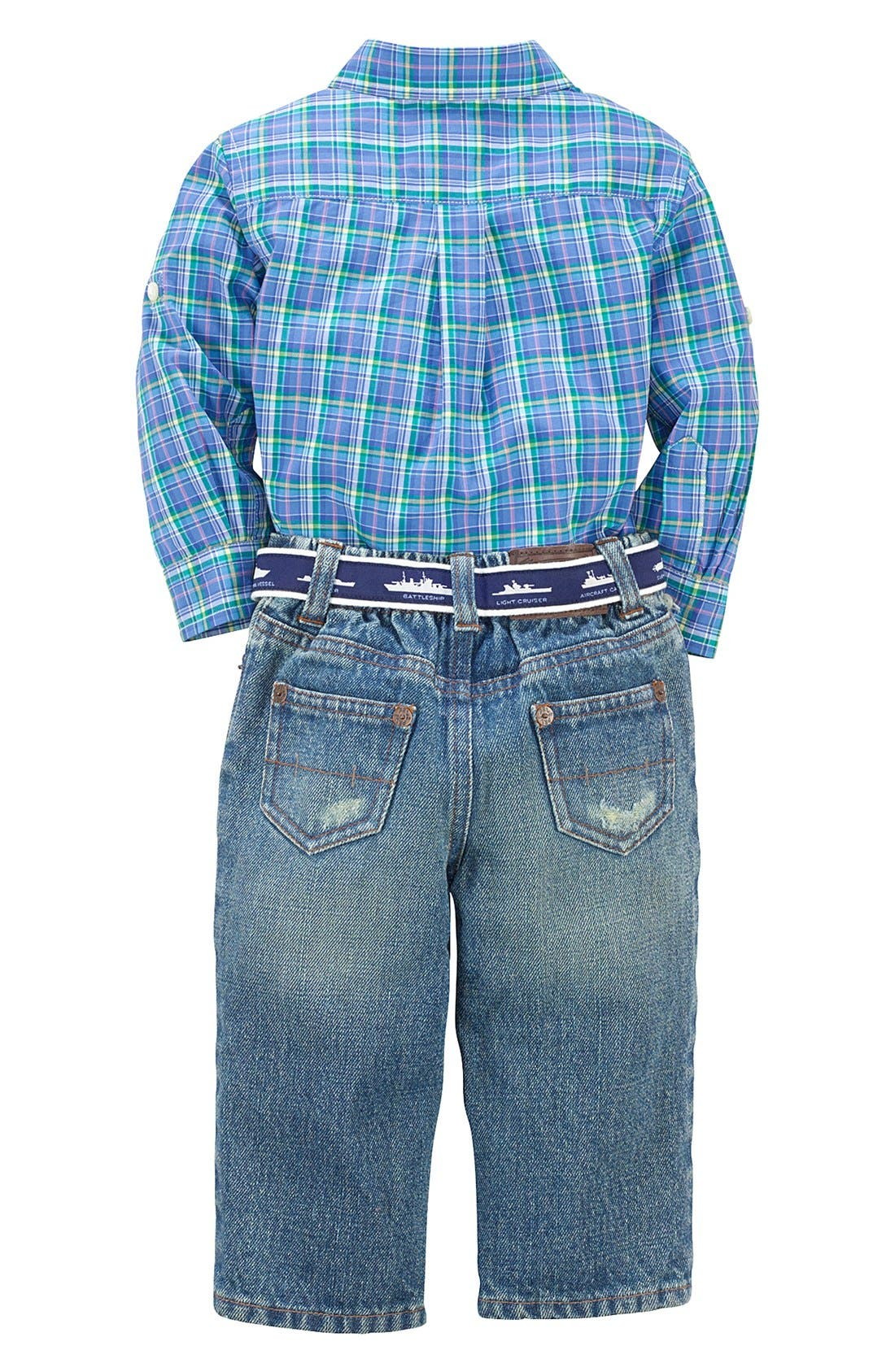 Alternate Image 2  - Ralph Lauren Plaid Sport Shirt & Jeans (Baby Boys)