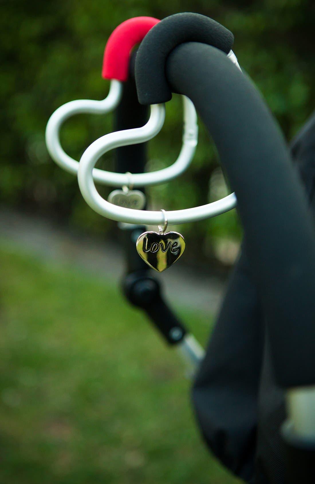 Buggygear 'Buggy Heart Hook' Stroller Bag Hanger,                             Alternate thumbnail 4, color,                             Silver/ Black