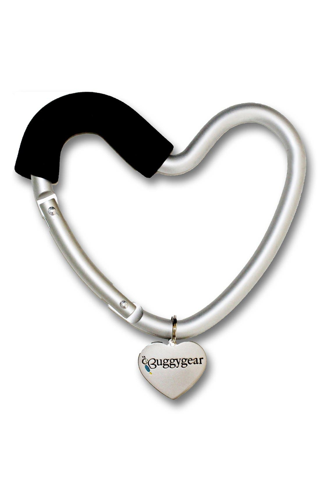 Buggygear 'Buggy Heart Hook' Stroller Bag Hanger,                             Alternate thumbnail 2, color,                             Silver/ Black