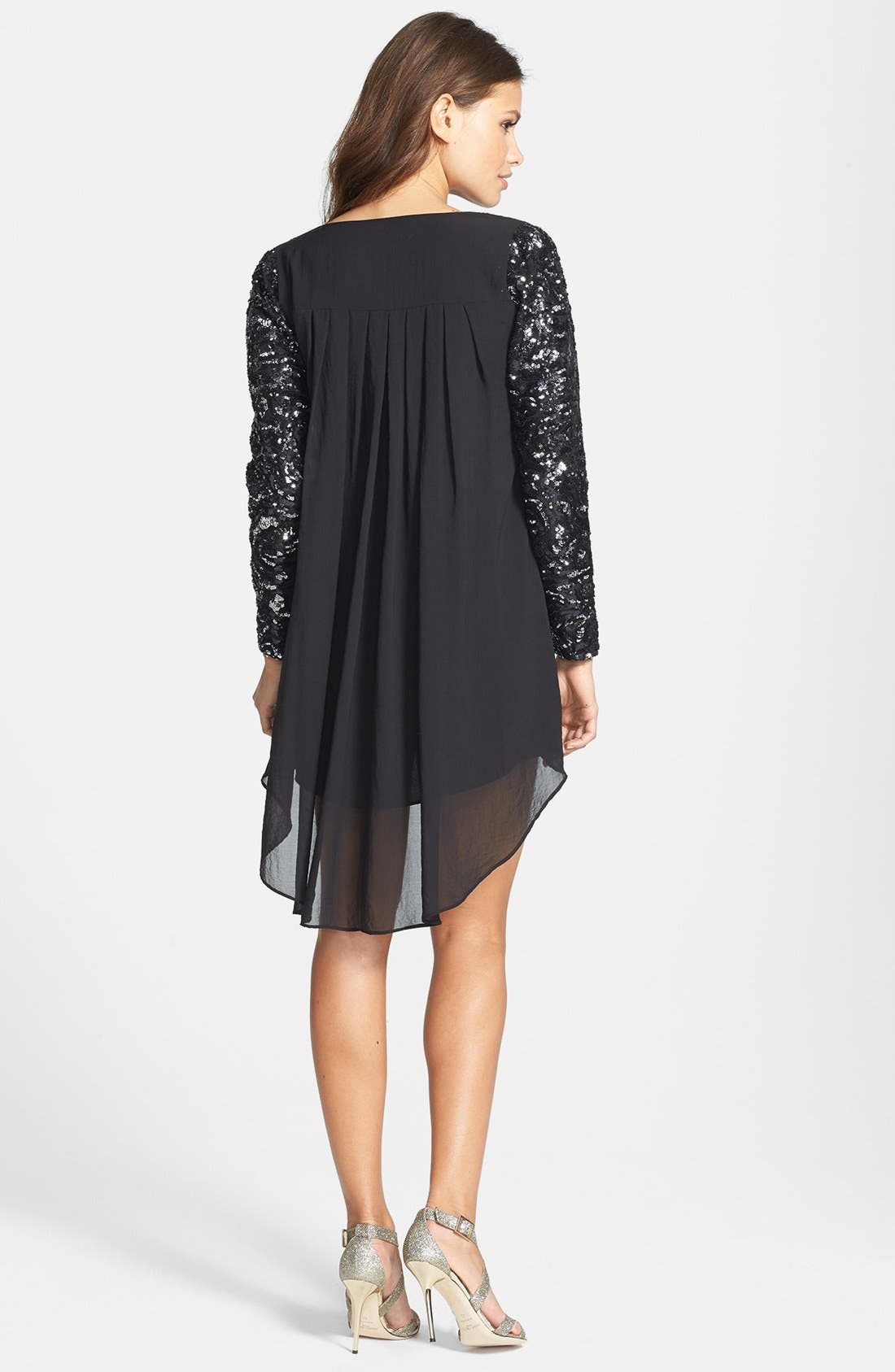 Alternate Image 2  - Dress the Population 'April' Sequin Sleeve High/Low Chiffon Shift Dress
