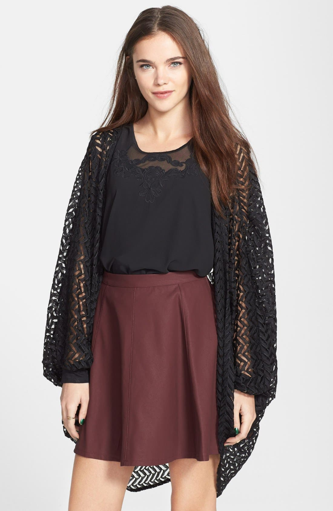 Alternate Image 1 Selected - Liberty Love Chevron Lace Oversized Cardigan (Juniors) (Online Only)