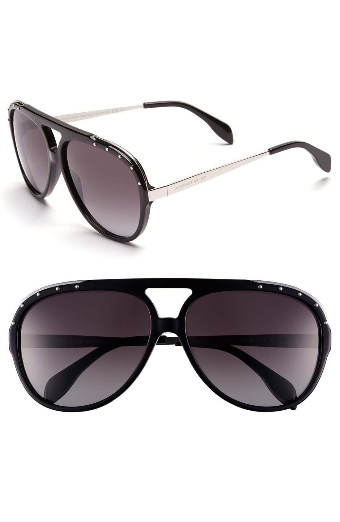 Alternate Image 1 Selected - Alexander McQueen 61mm Aviator Sunglasses
