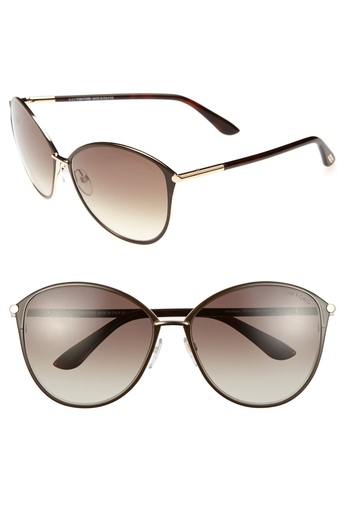 Penelope 59mm Gradient Cat Eye Sunglasses,                         Main,                         color, Shiny Rose Gold/ Dark Brown