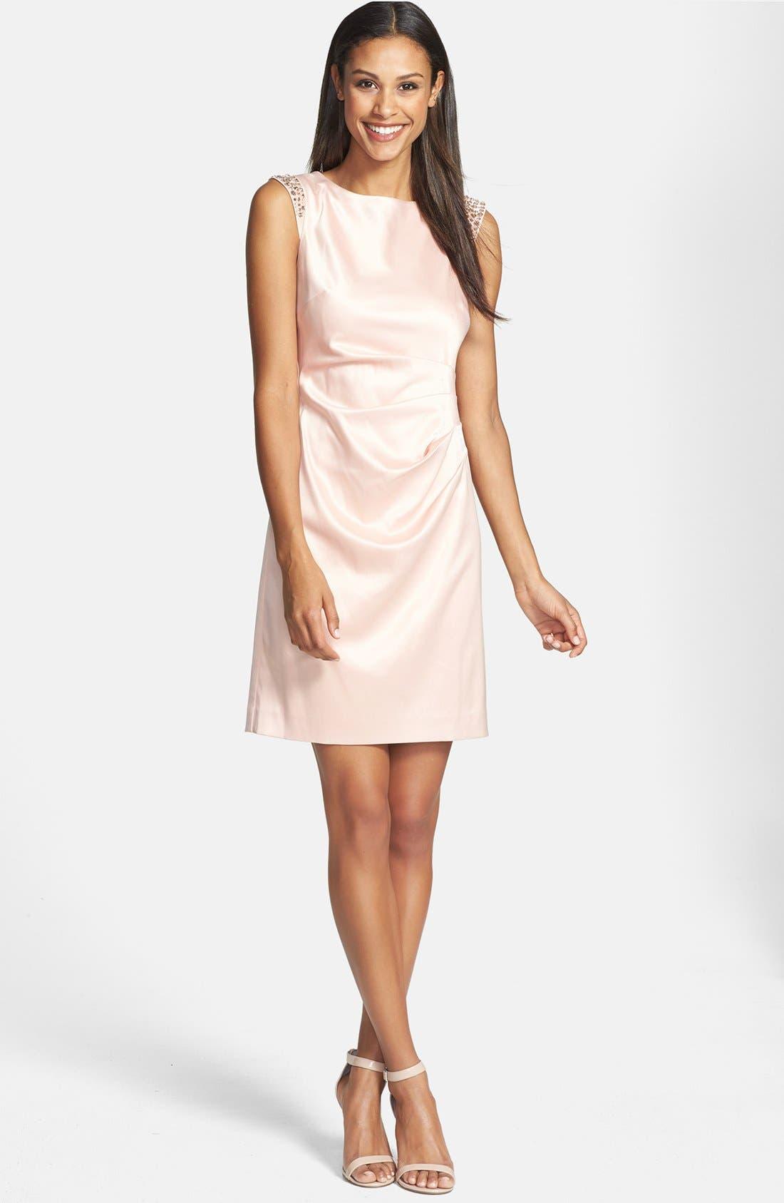 Alternate Image 1 Selected - Vince Camuto Rhinestone Embellished Stretch Satin Sheath Dress