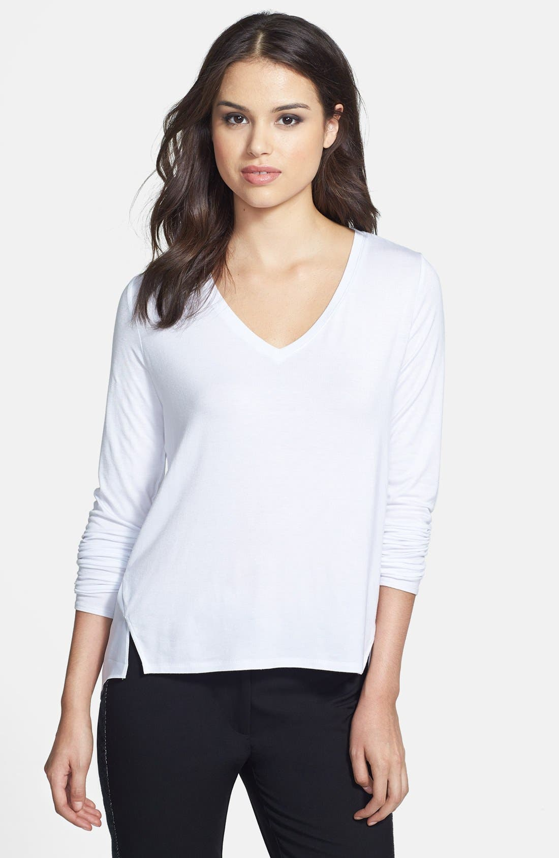 Main Image - Kenneth Cole New York 'Jo' Shirttail Inset V-Neck Sweater