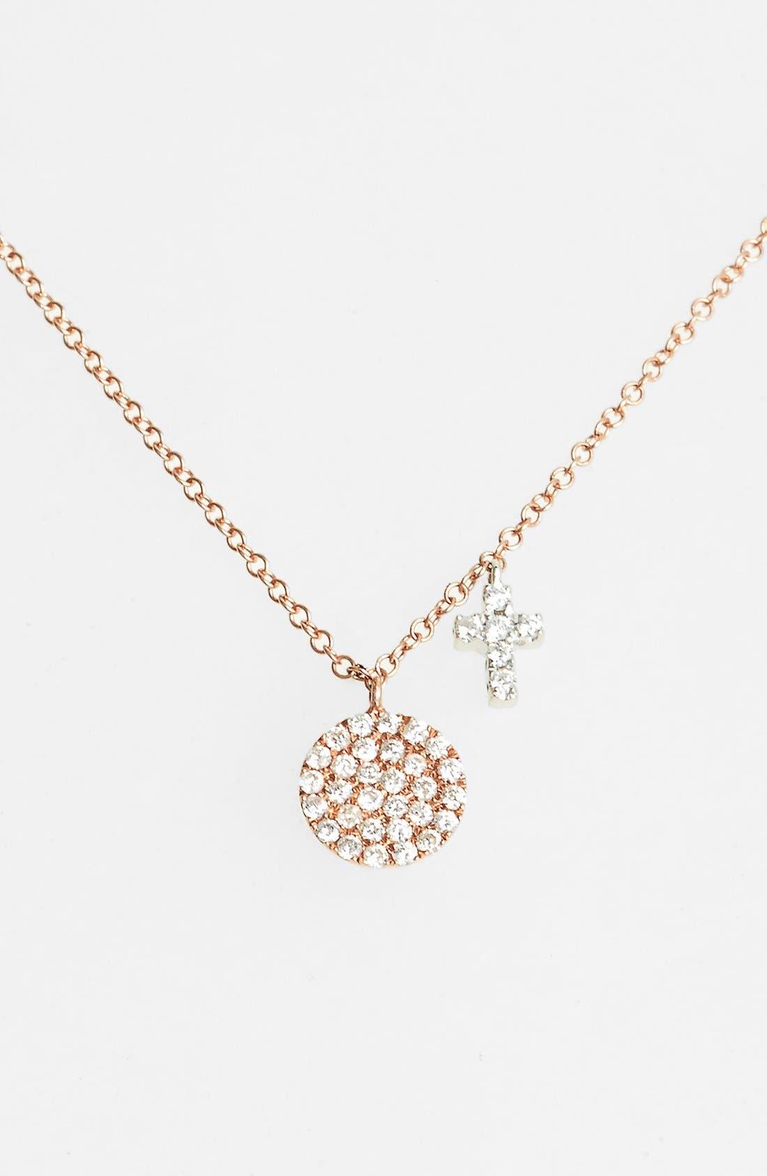 Alternate Image 1 Selected - MeiraT 'Dazzling' Diamond Disc Pendant Necklace