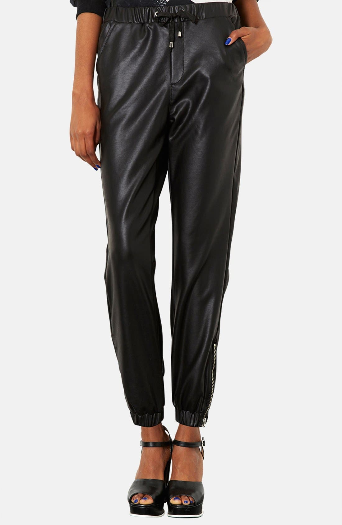 Main Image - Topshop Faux Leather Track Pants