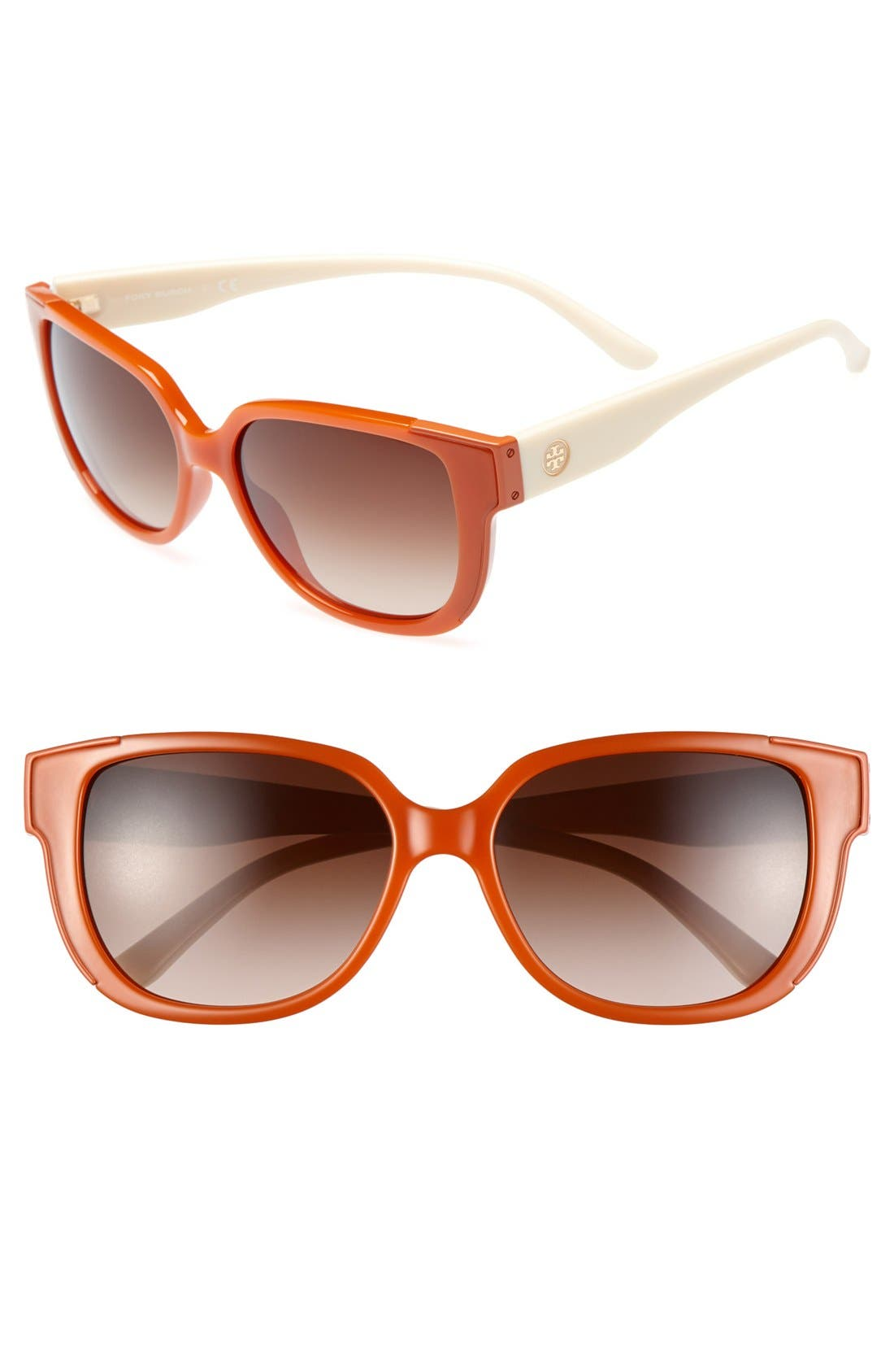 Main Image - Tory Burch 57mm Square Logo Sunglasses