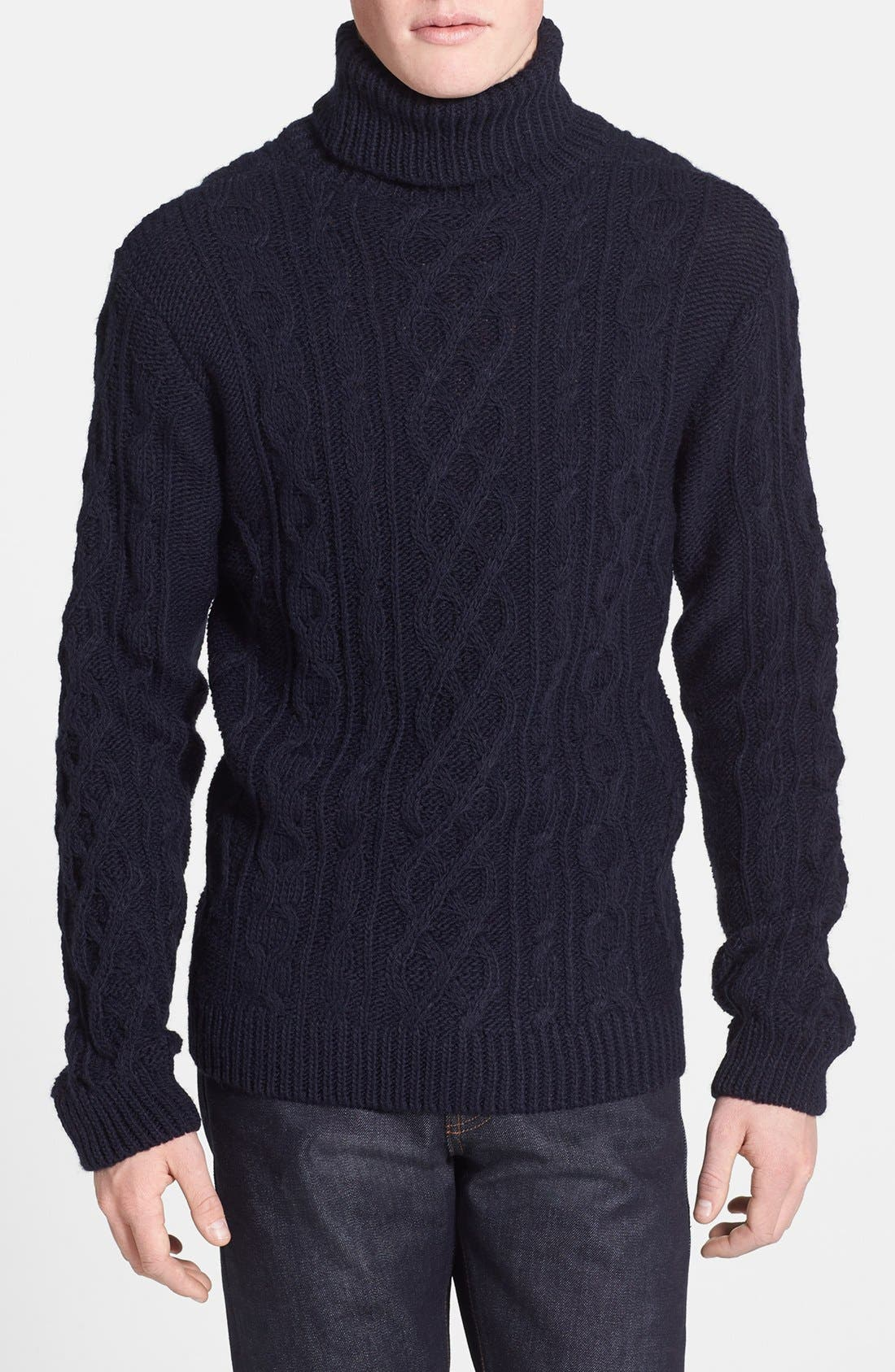 Alternate Image 1 Selected - Topman Chunky Cable Knit Turtleneck Sweater