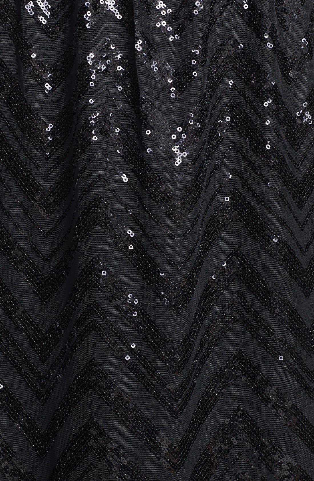 Alternate Image 3  - Ellen Tracy Illusion Yoke Sequin Stripe Long Dress