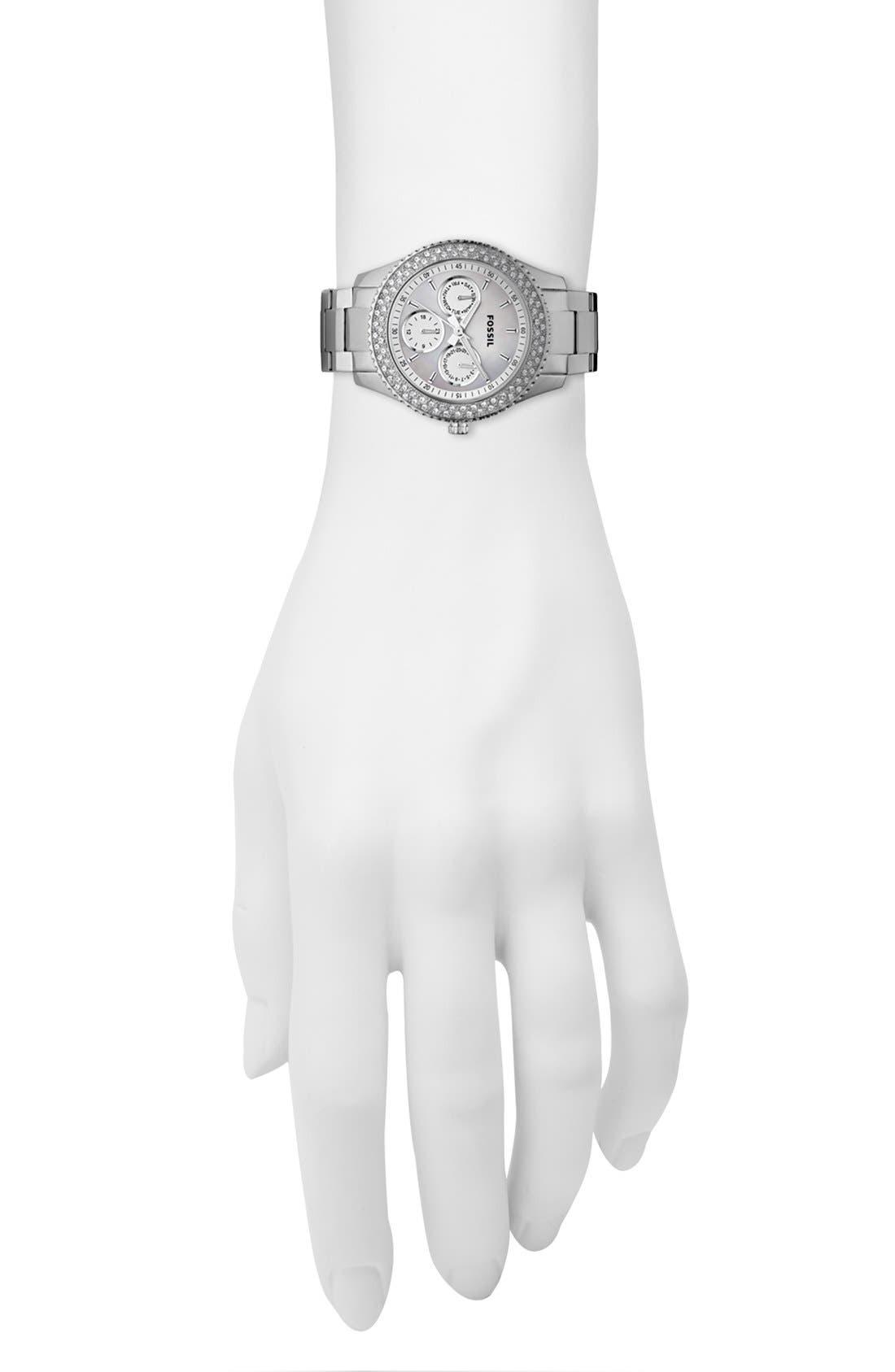 Alternate Image 2  - Fossil 'Stella' Crystal Topring Multifunction Watch, 37mm