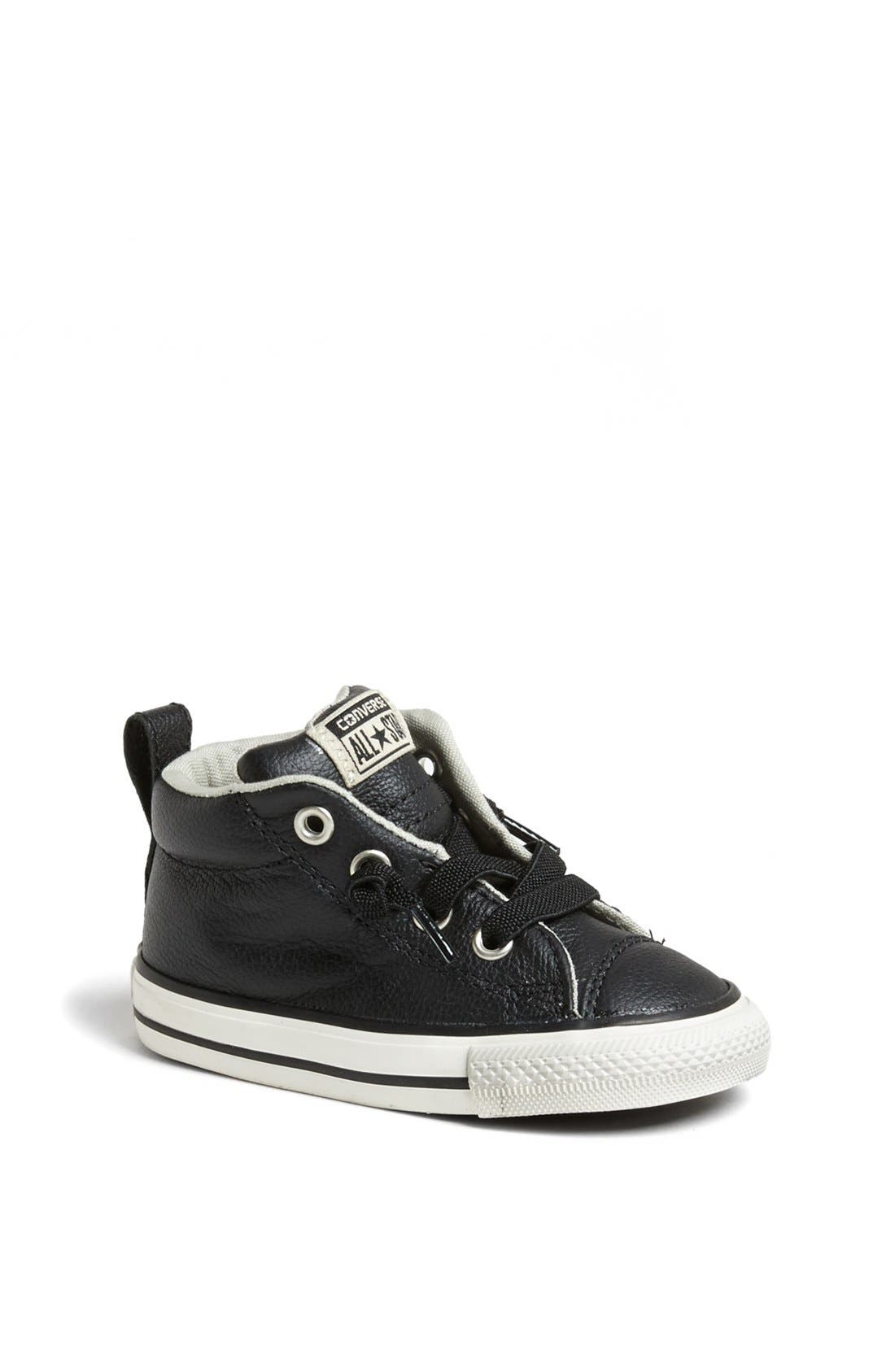 Chuck Taylor<sup>®</sup> All Star<sup>®</sup> 'CT AS Street' Leather Slip-On Sneaker,                             Main thumbnail 1, color,                             Black/ Tidal Foam