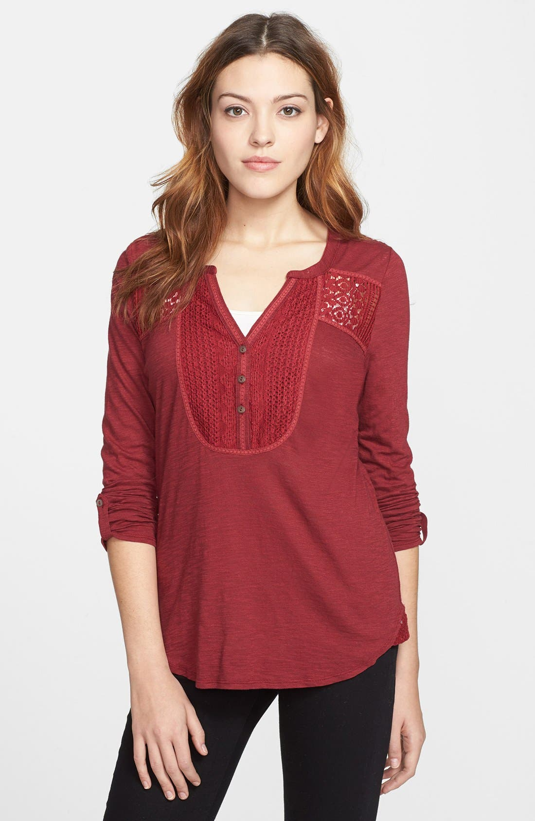 Alternate Image 1 Selected - Lucky Brand Lace Tuxedo Bib Top