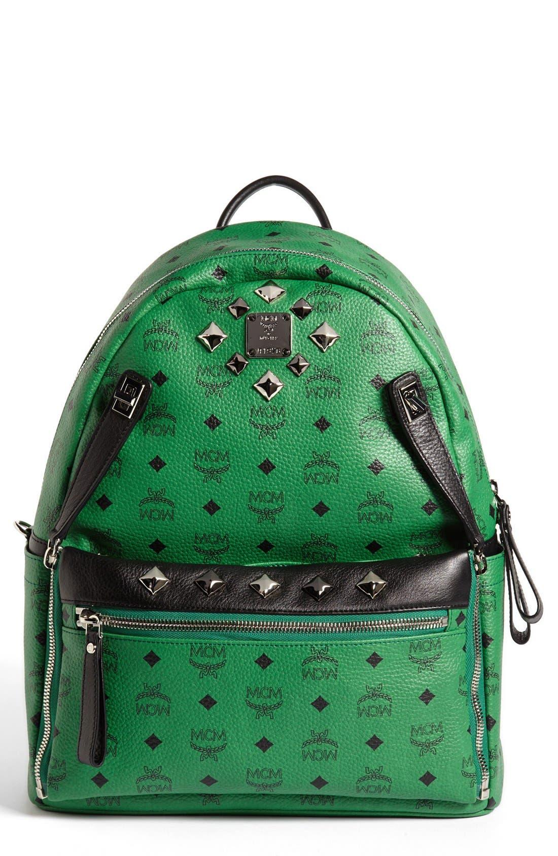 Main Image - MCM 'Studded - Medium' Coated Canvas Backpack