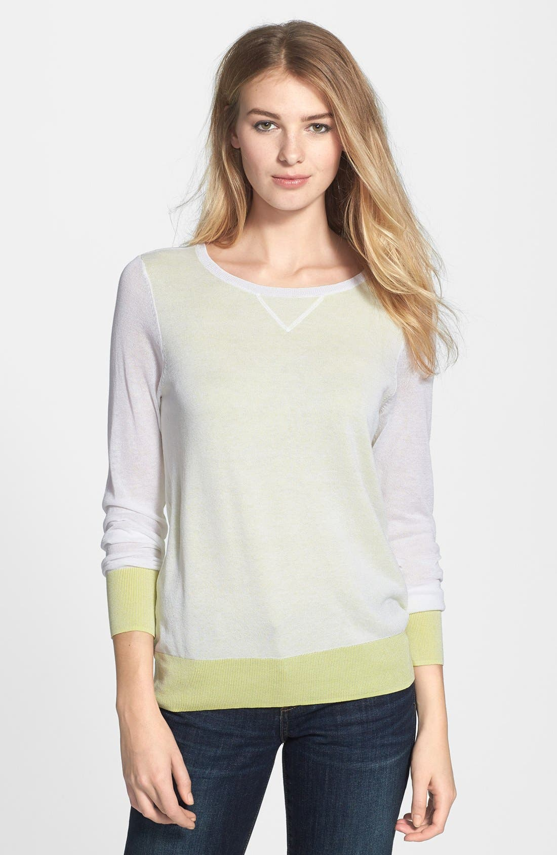 Double Layer Sweater,                             Main thumbnail 1, color,                             White/ Lime Soda