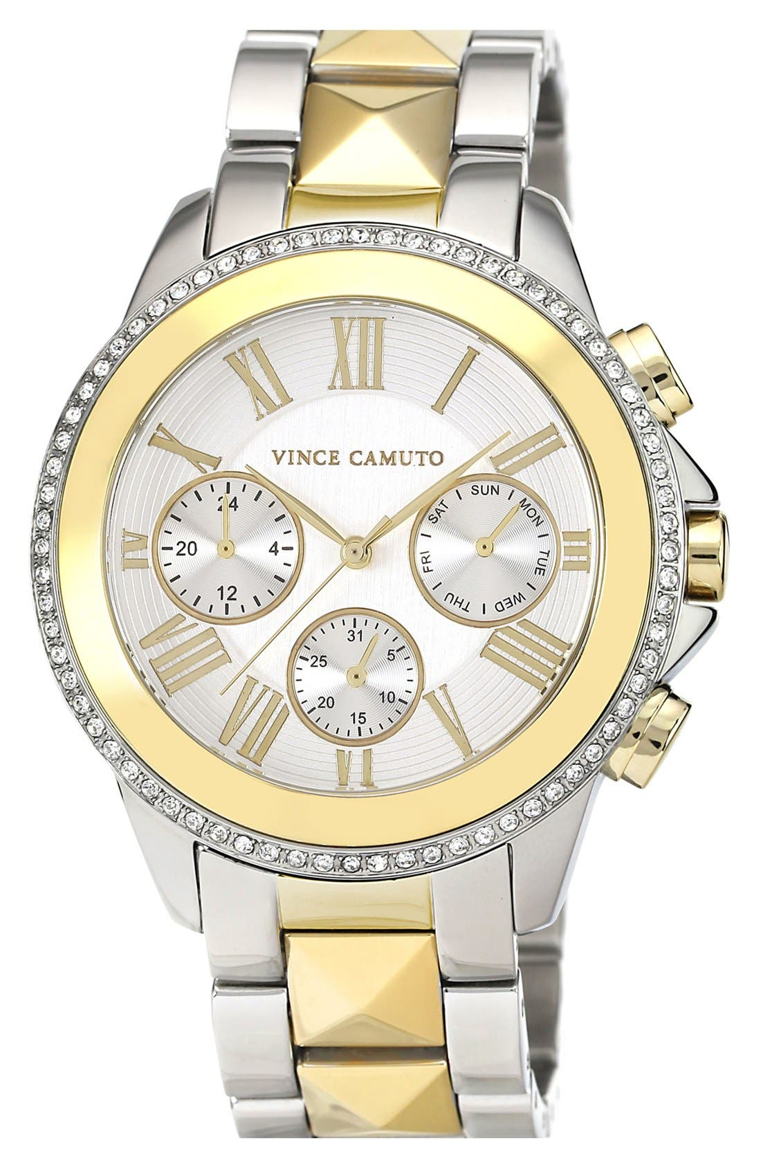 Main Image - Vince Camuto Multifunction Pyramid Bracelet Watch, 42mm