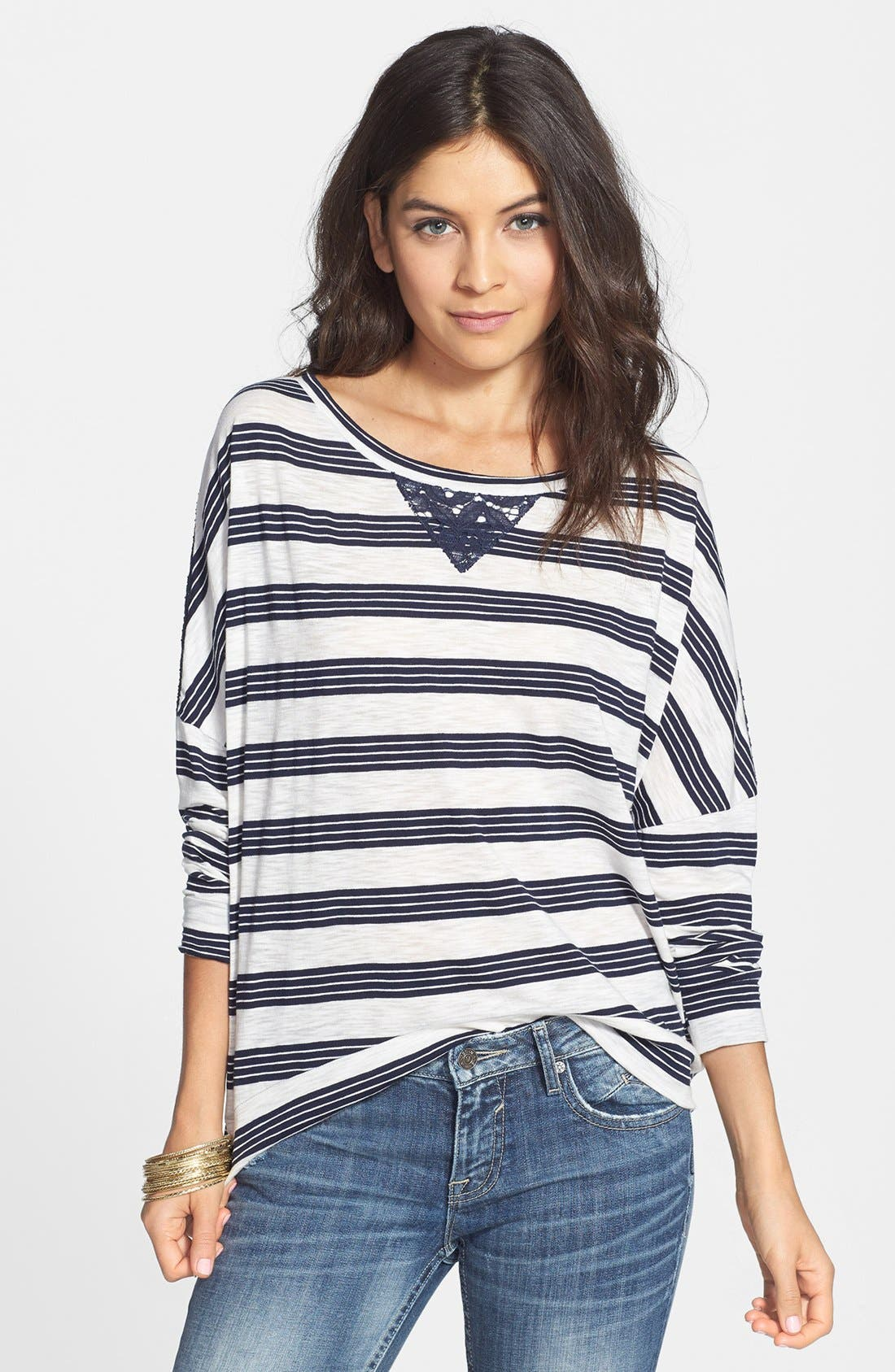 Alternate Image 1 Selected - Elodie Lace Yoke Stripe Oversized Tee (Juniors)