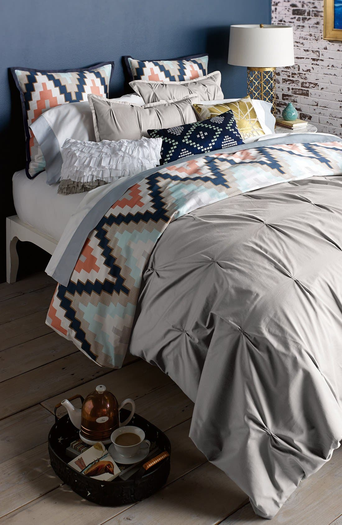 Main Image - Blissliving Home 'Harper - Grey' Cotton Sateen Duvet Cover & Shams (Online Only)