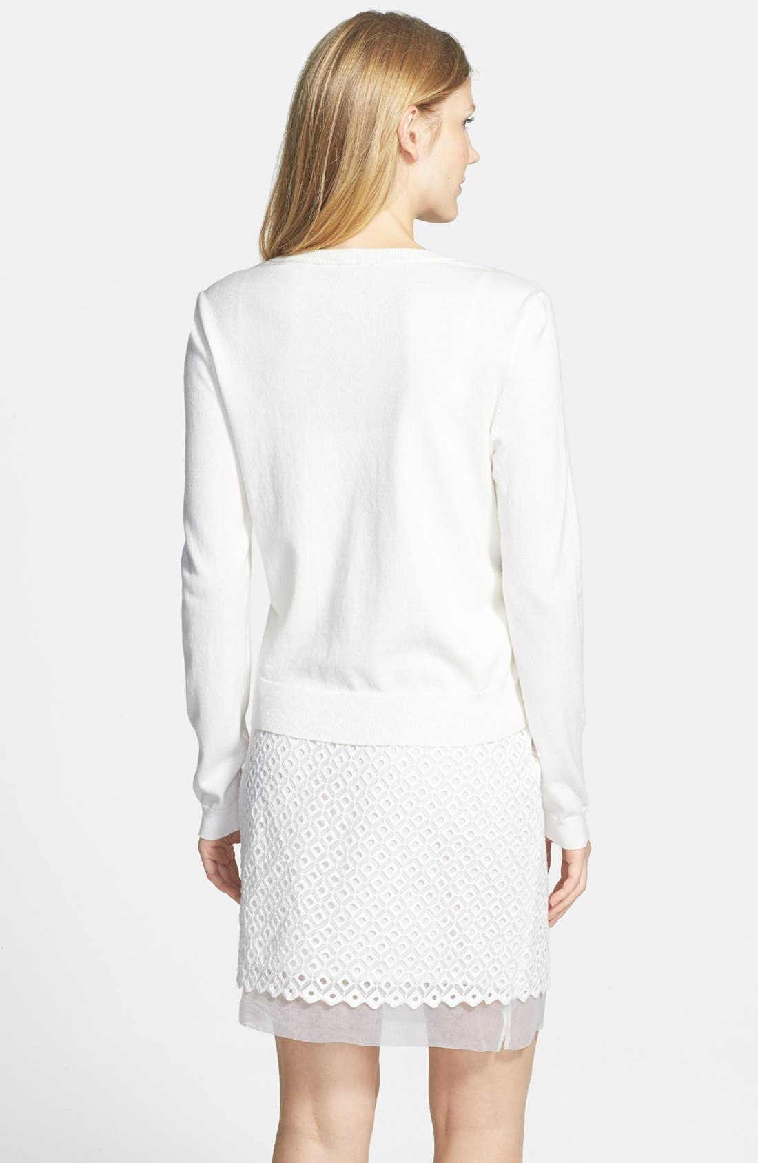 Alternate Image 2  - Vince Camuto Embroidered Eyelet Cardigan