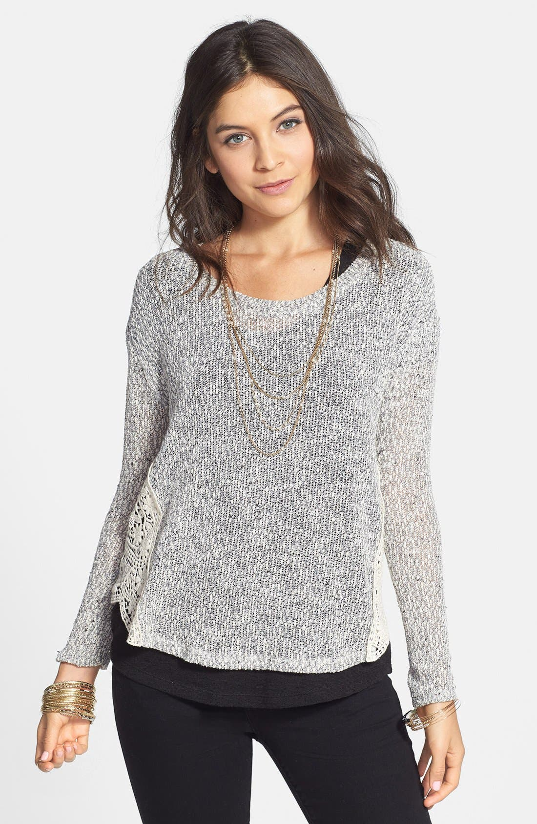Alternate Image 1 Selected - Lush Crochet Side Marled Sweater (Juniors)