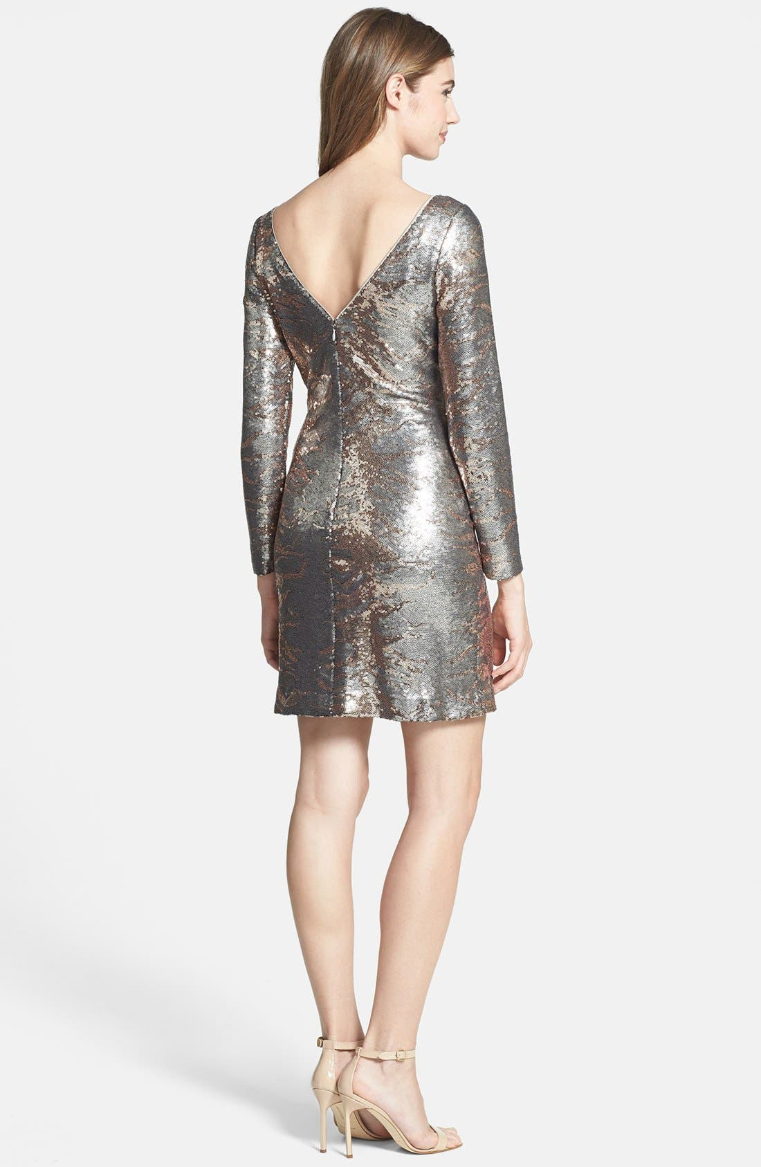 Alternate Image 2  - Jessica Simpson Long Sleeve Sequin Sheath Dress