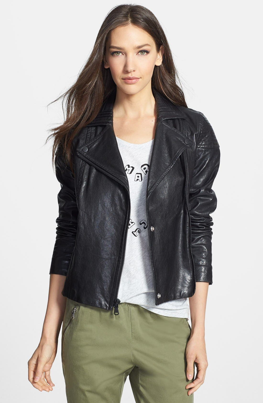 Alternate Image 1 Selected - MARC BY MARC JACOBS 'Karlie' Leather Moto Jacket