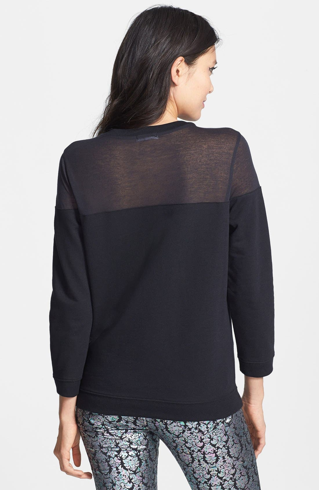 Sheer Yoke Sweatshirt,                             Alternate thumbnail 2, color,                             Black