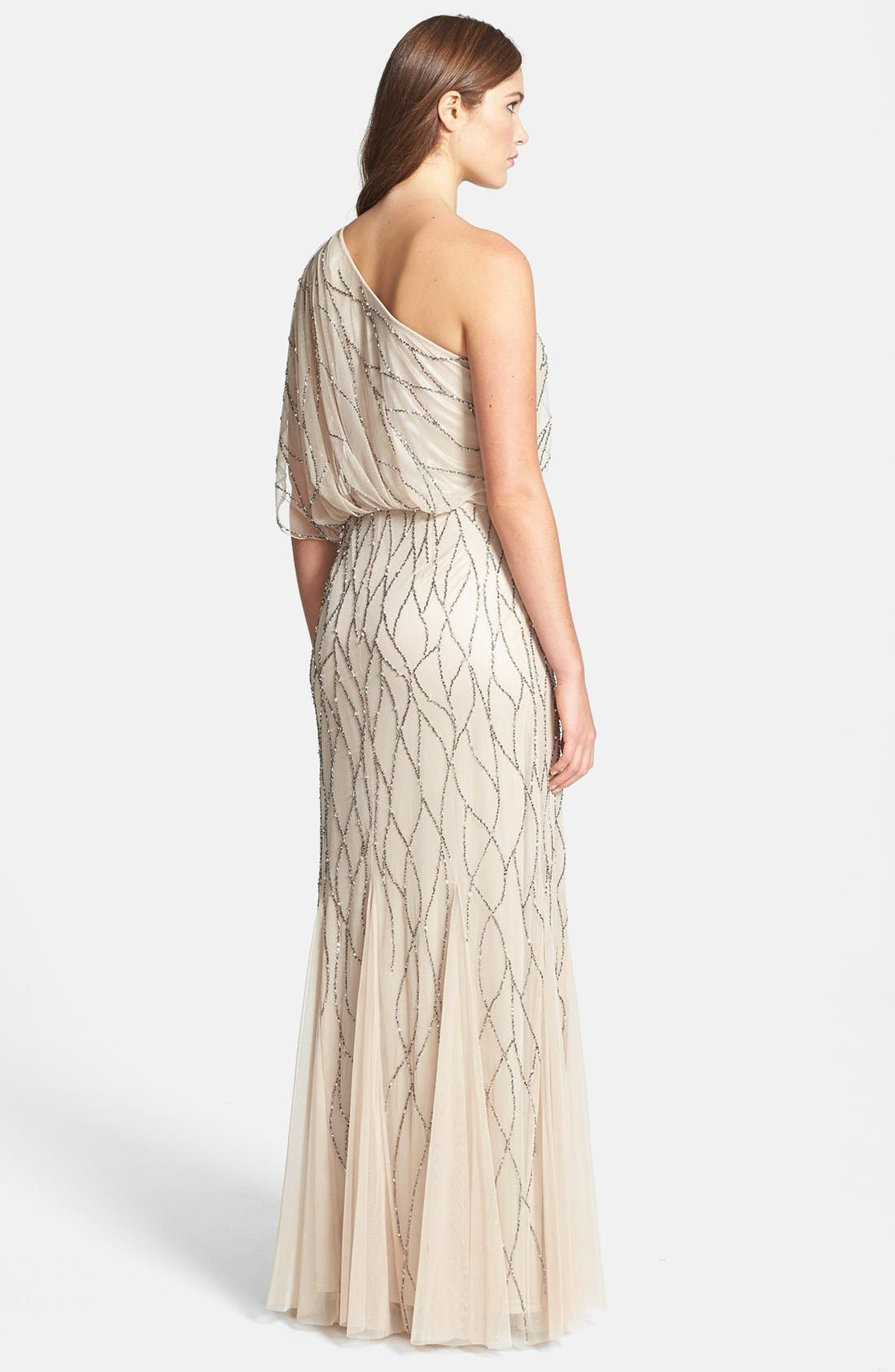 Alternate Image 2  - Adrianna Papell Beaded One-Shoulder Blouson Dress