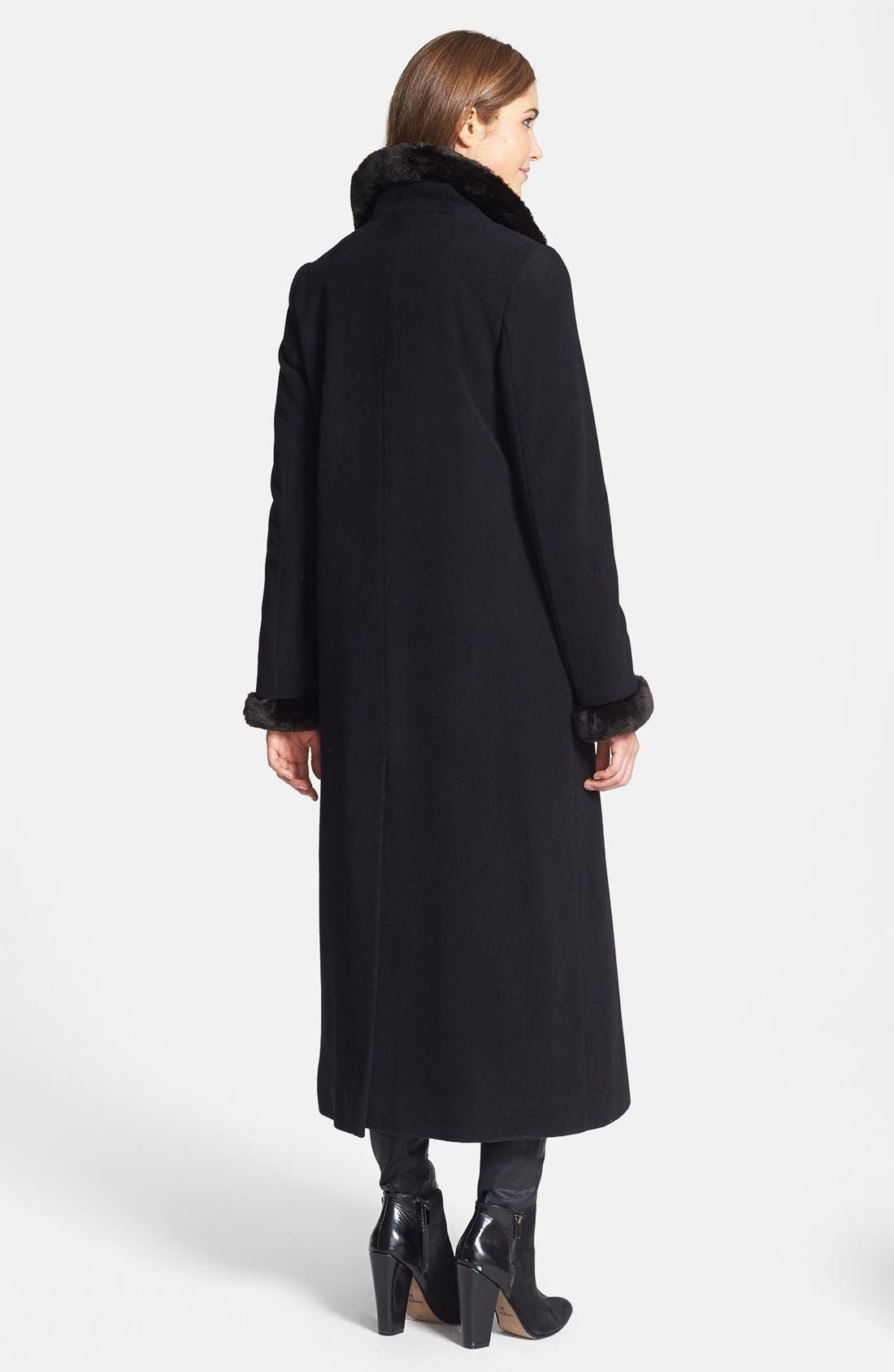 Alternate Image 2  - Ellen Tracy Faux Fur Trim Long Wool Blend Coat