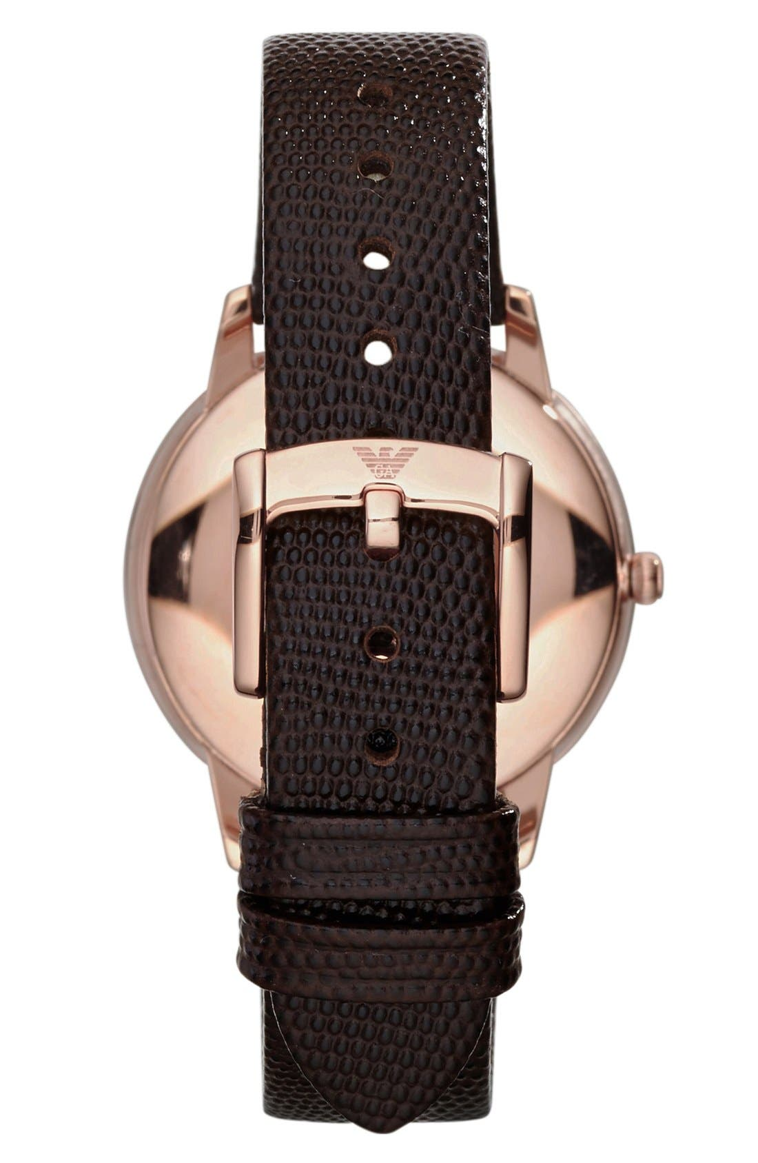 Alternate Image 2  - Emporio Armani Round Lizard Embossed Leather Strap Watch, 33mm