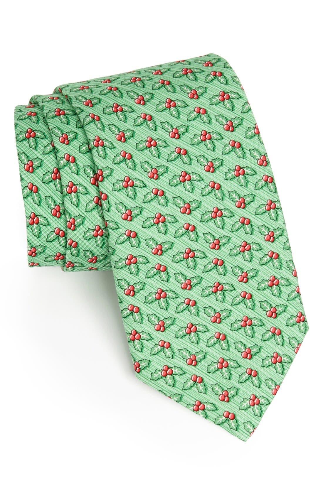 Main Image - Vineyard Vines Holly Berry Print Silk Tie