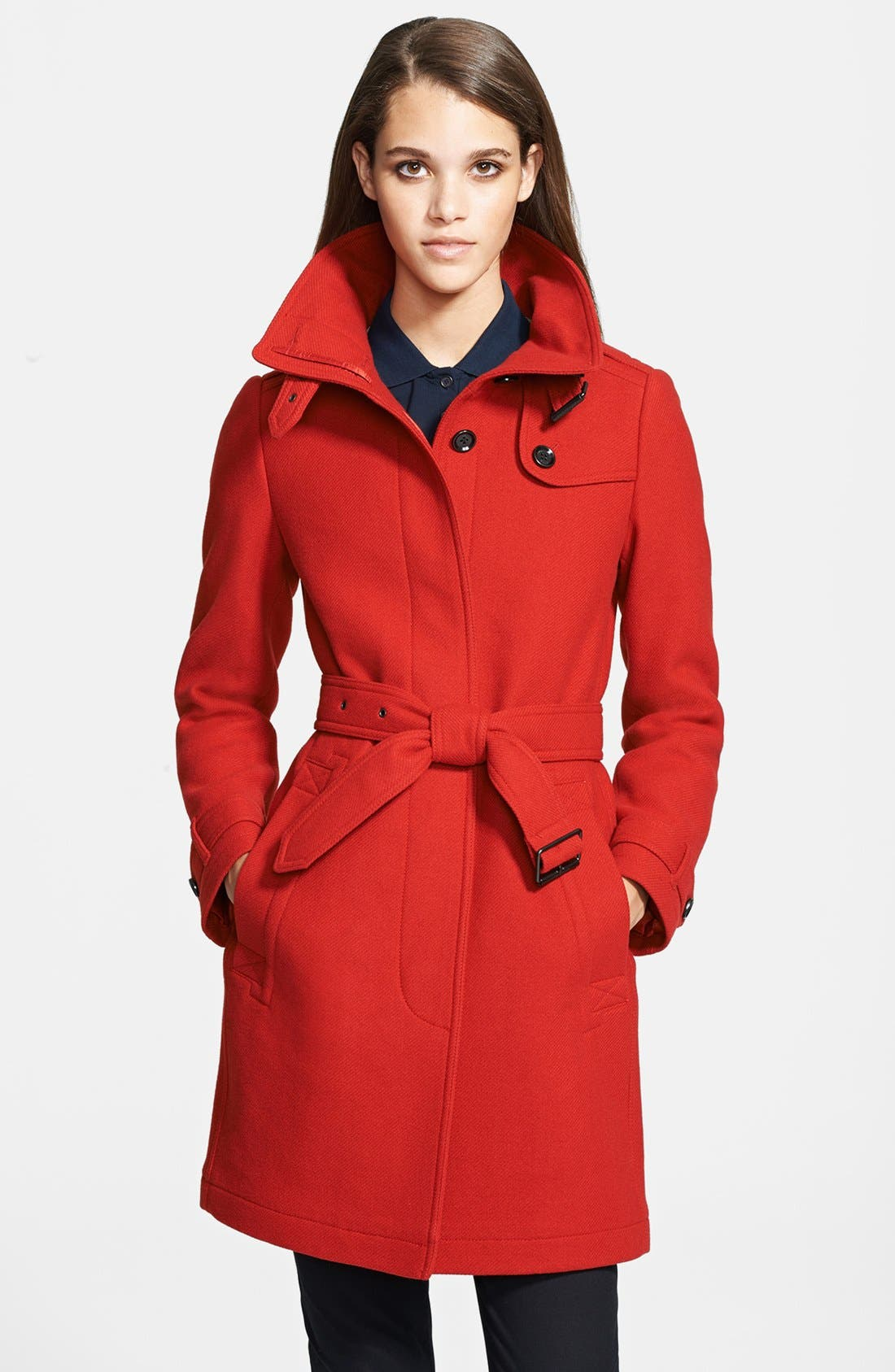Main Image - Burberry Brit 'Rushworth' Belted Wool Blend Coat