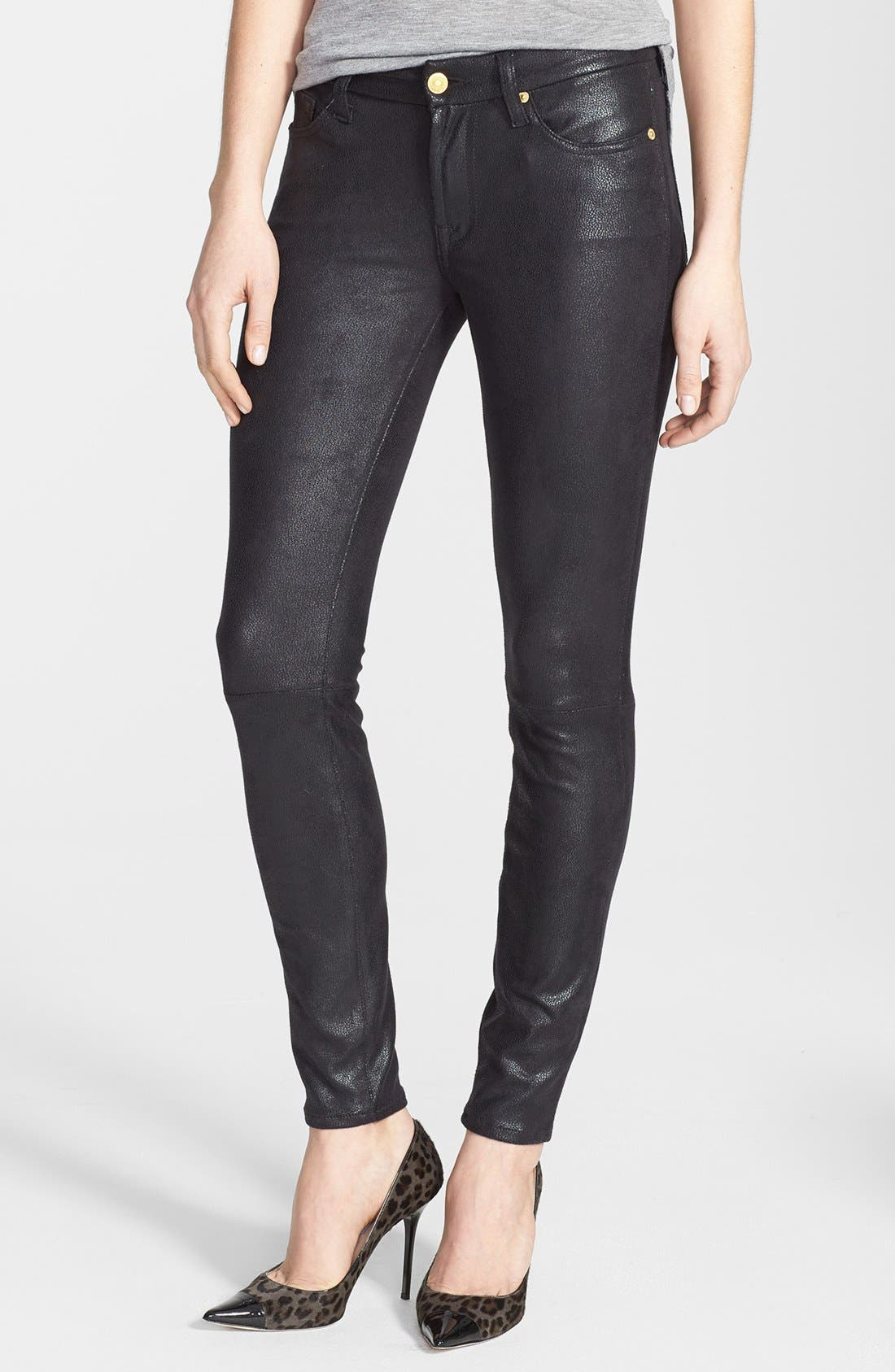 Main Image - 7 For All Mankind® 'The Skinny' High Rise Faux Leather Skinny Pants (Black)