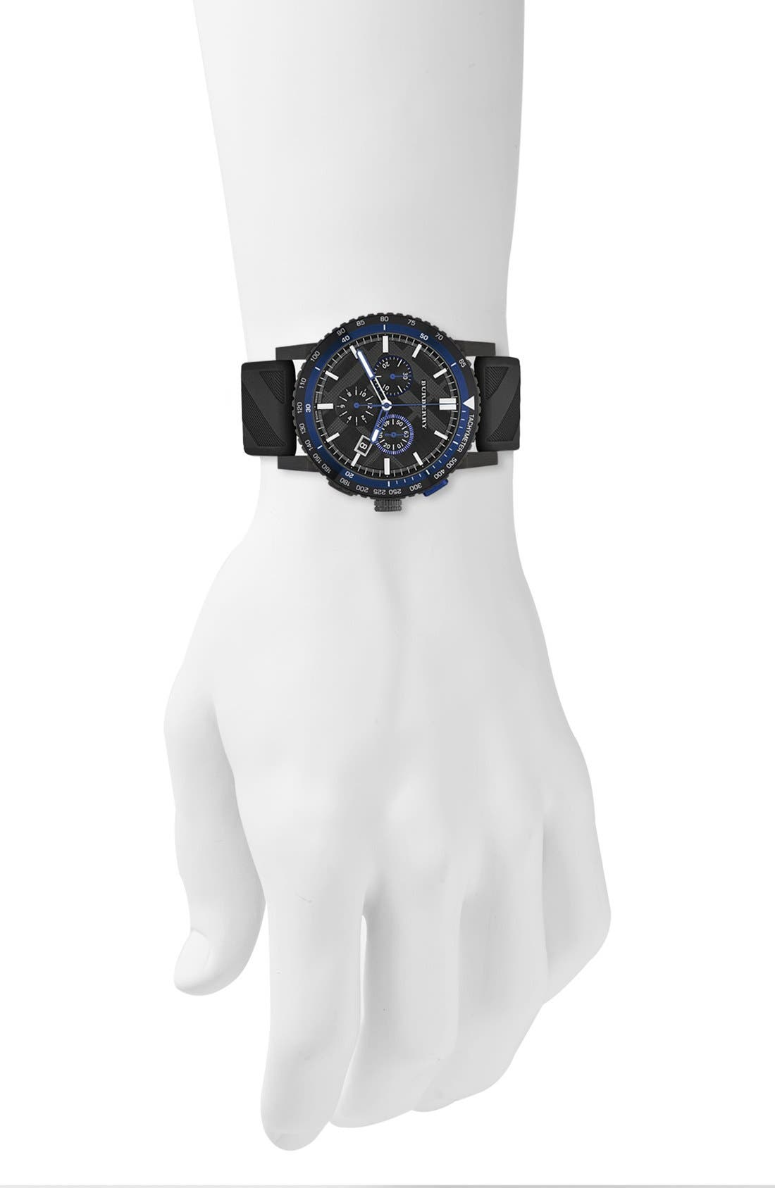Alternate Image 5  - Burberry Chronograph Rubber Strap Watch, 42mm