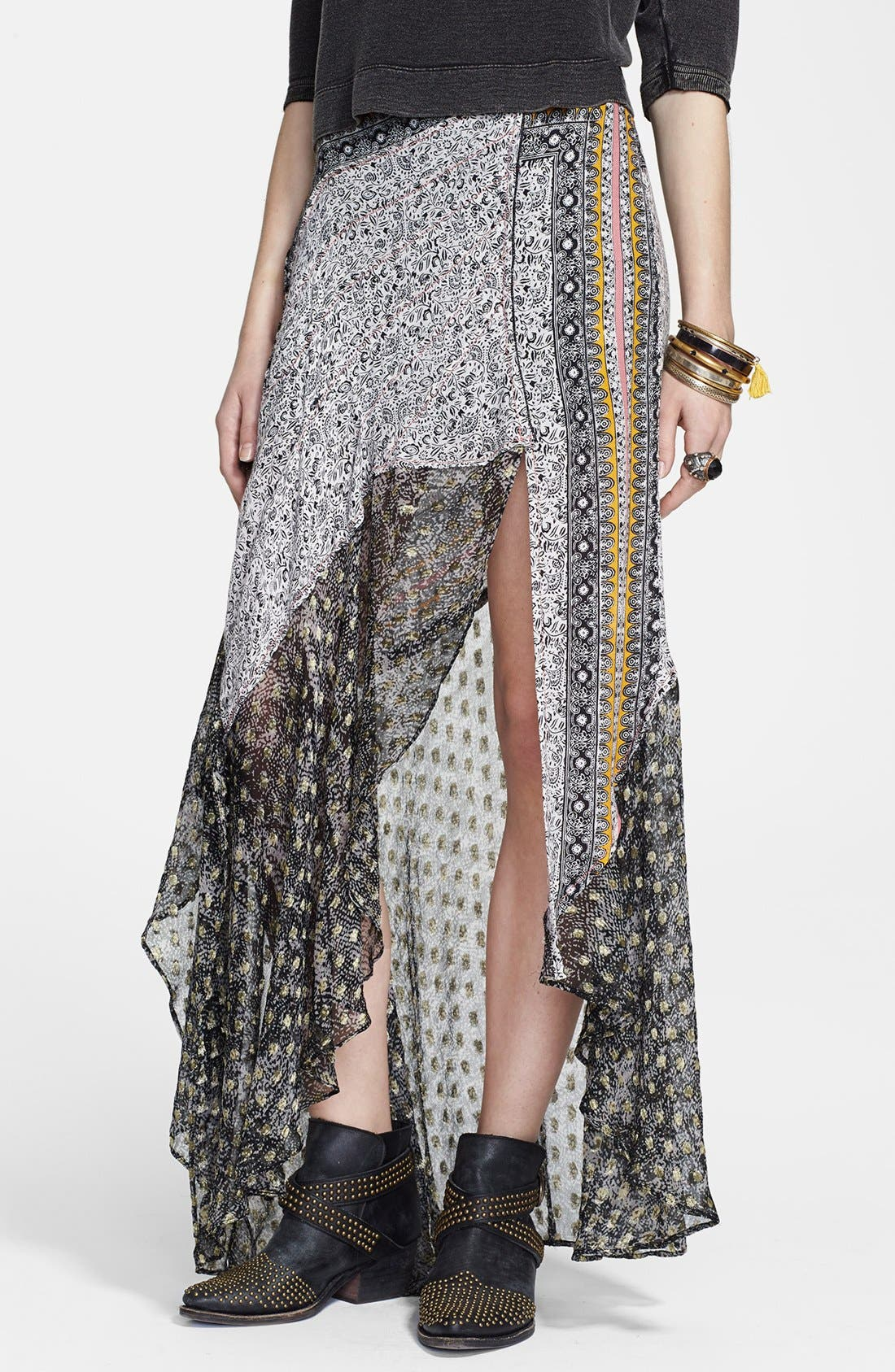 Alternate Image 1 Selected - Free People Asymmetrical Mixed Print Ruffle Skirt