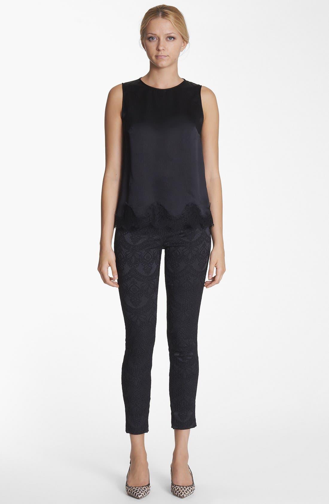 Main Image - Dolce&Gabbana Lace Hem Silk Blend Top