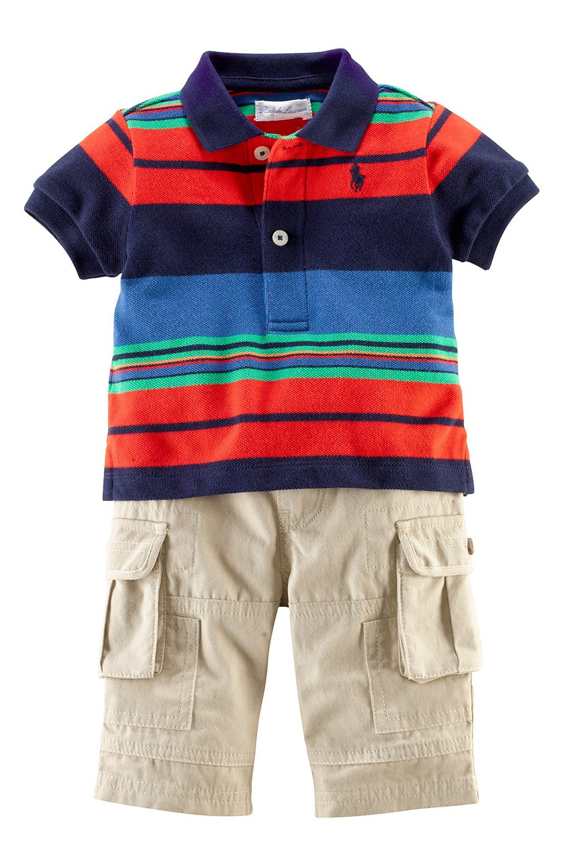 Alternate Image 1 Selected - Ralph Lauren Polo & Cargo Pants (Baby Boys)